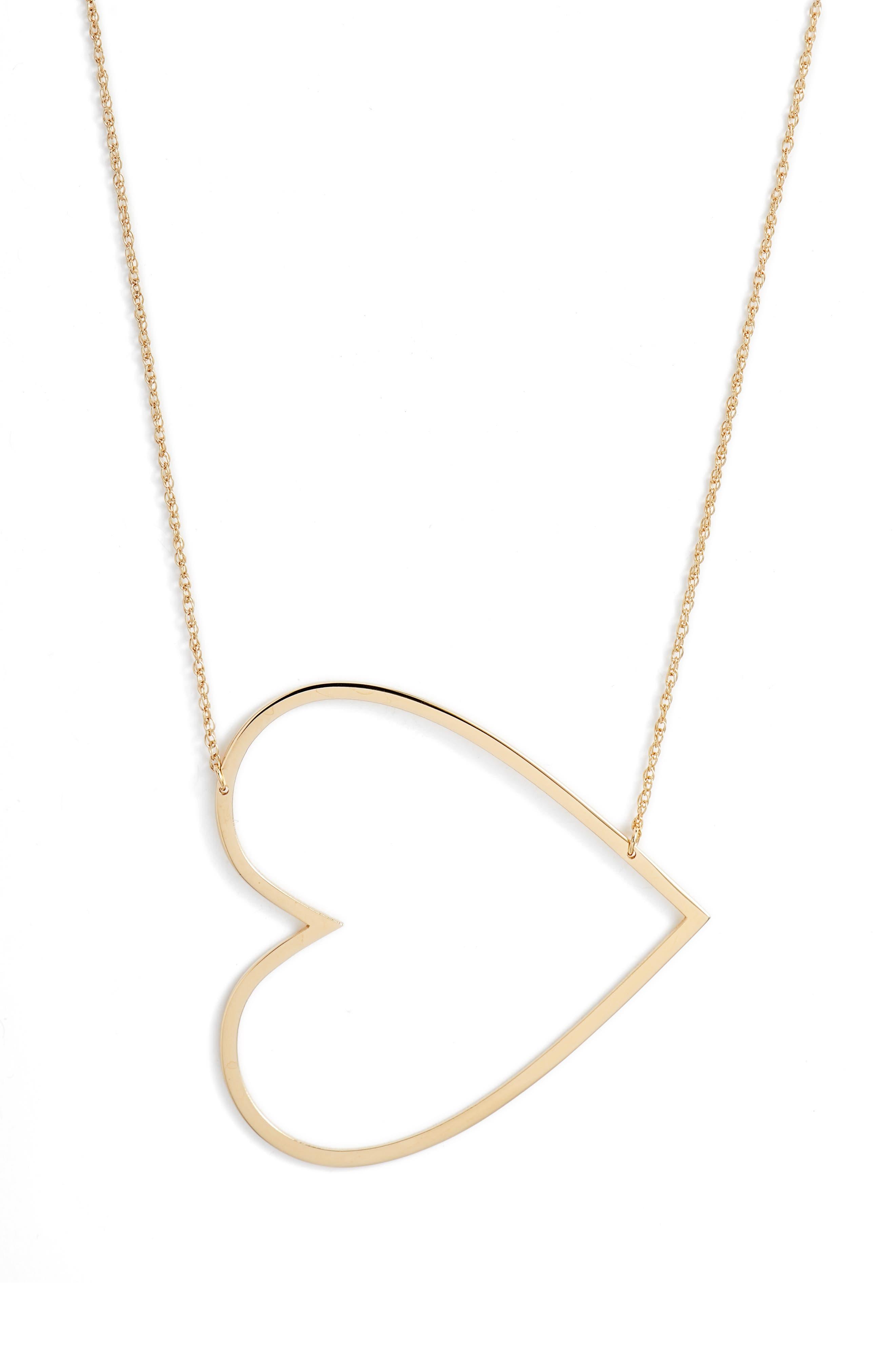 JENNIFER ZEUNER, Marissa Heart Pendant Necklace, Main thumbnail 1, color, YELLOW VERMEIL