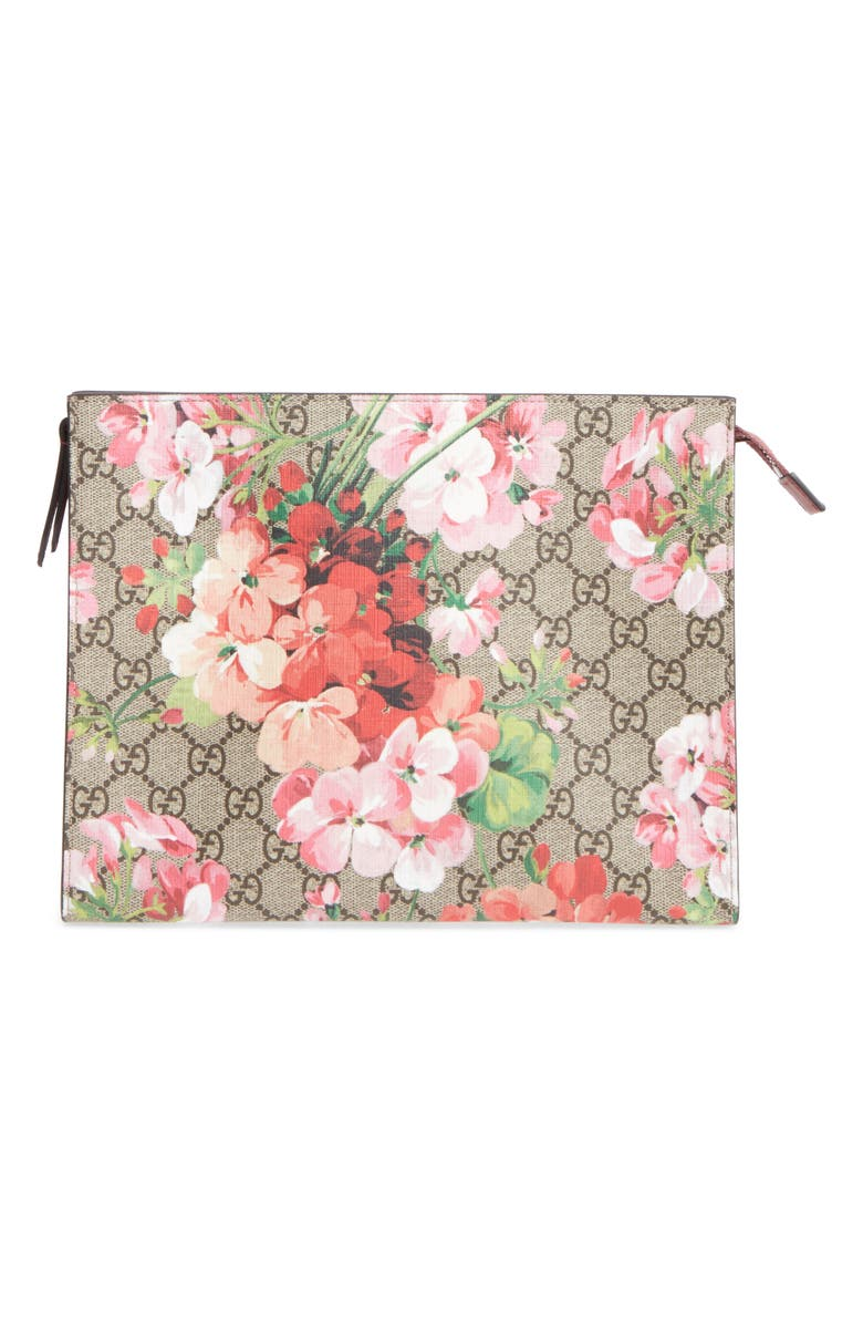 76a7bdf593e Gucci Large GG Blooms Canvas   Leather Cosmetics Case