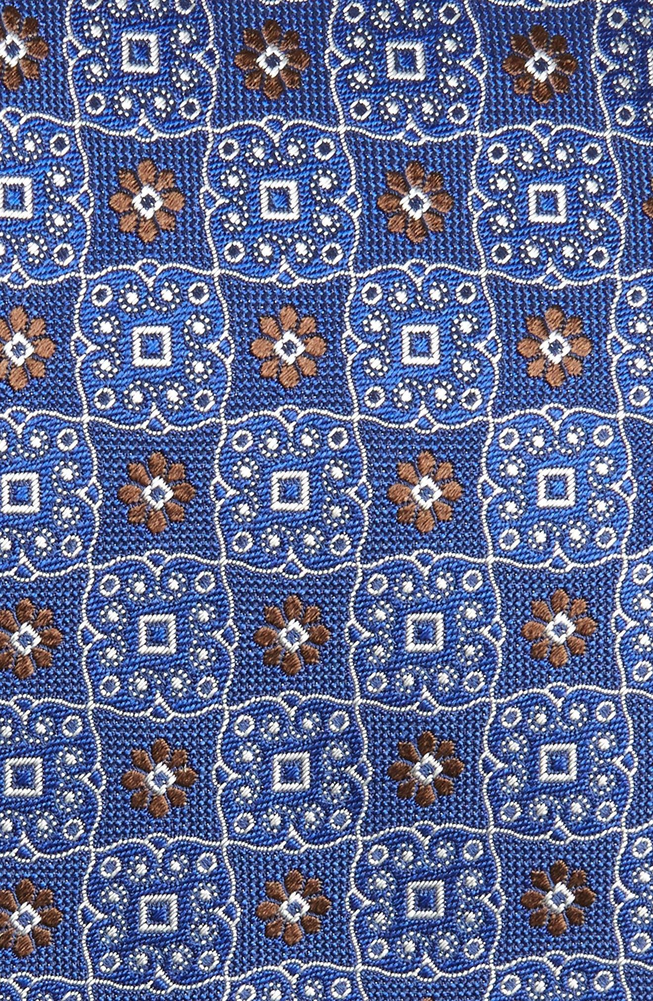 CANALI, Medallion Silk Tie, Alternate thumbnail 2, color, NAVY