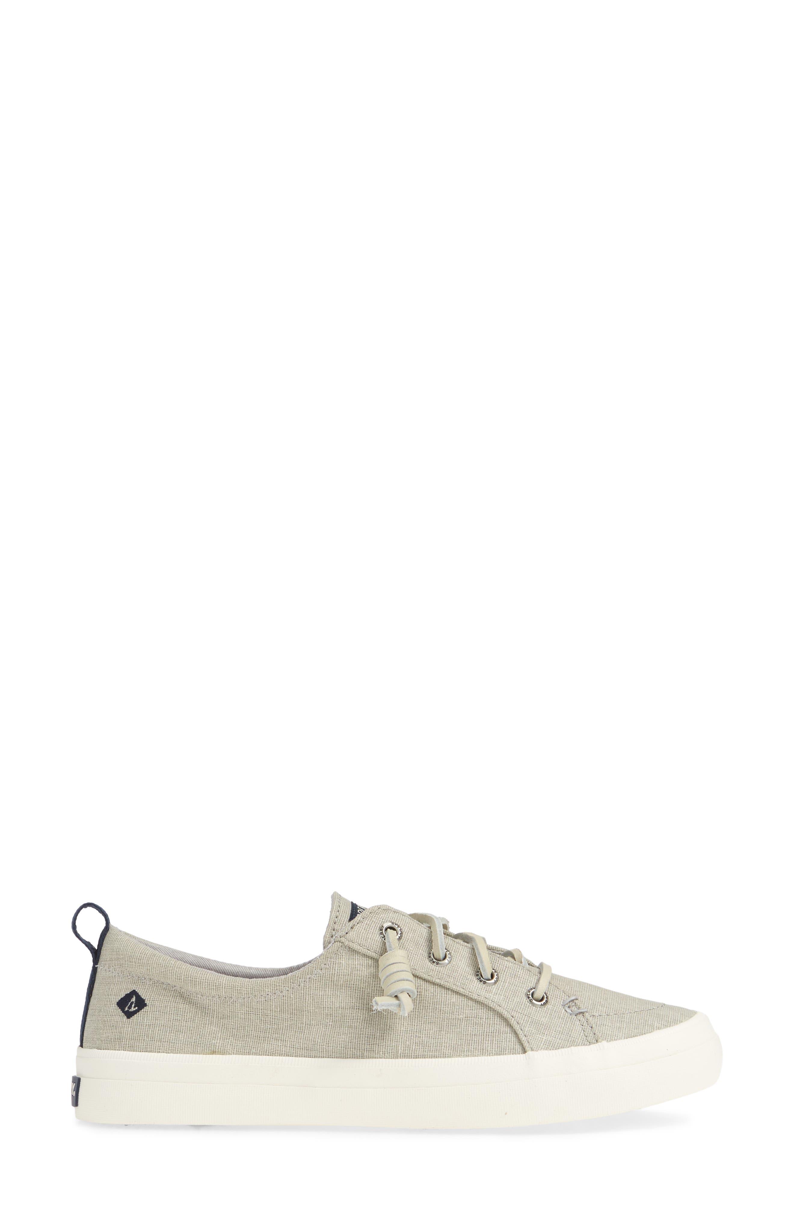 SPERRY, Crest Vibe Sneaker, Alternate thumbnail 3, color, GREY LINEN FABRIC