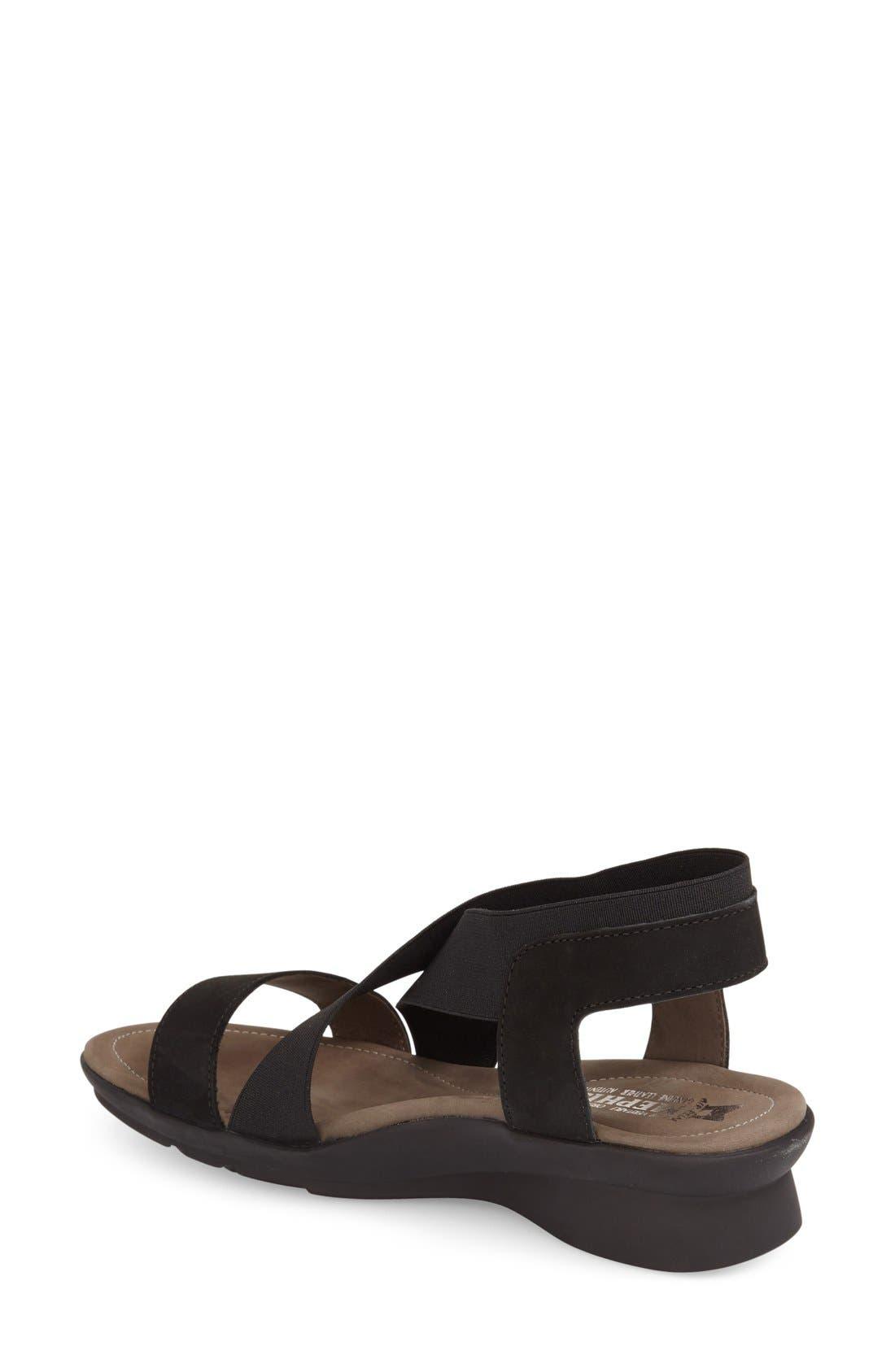 MEPHISTO, 'Pastora' Sandal, Alternate thumbnail 2, color, BLACK BUCKSOFT