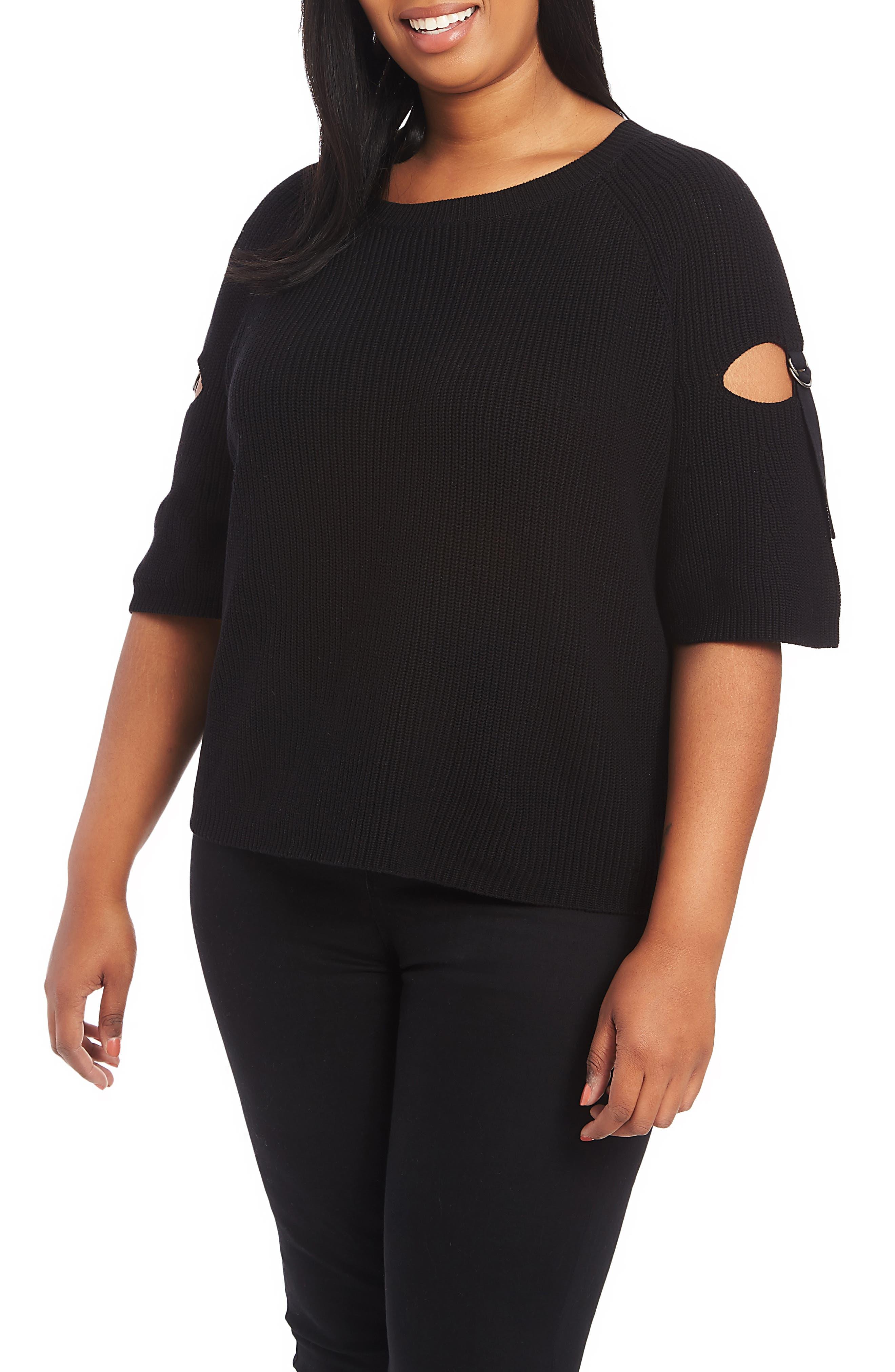 1.STATE Keyhole Cutout Sleeve Sweater, Main, color, 001