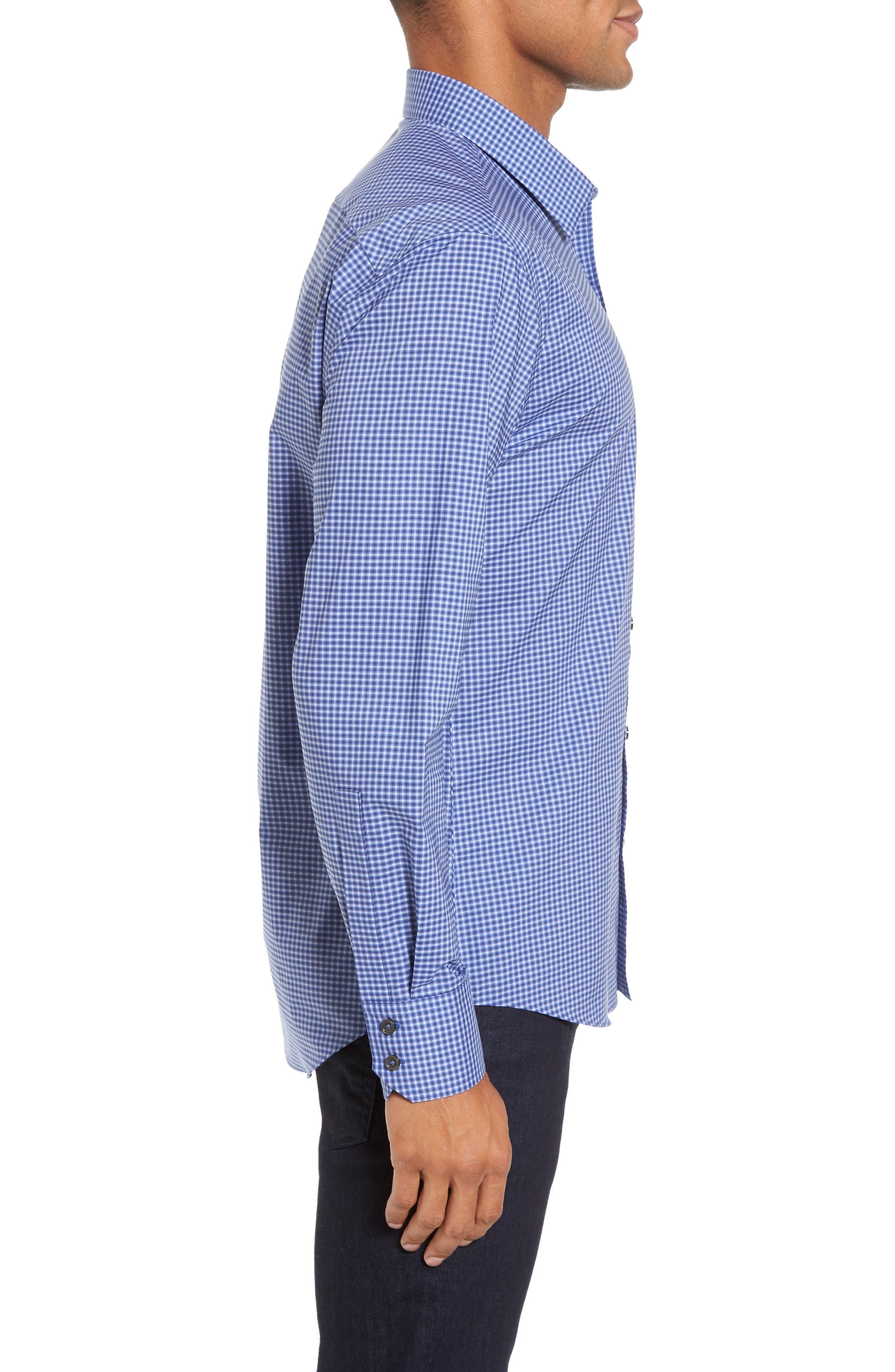 ZACHARY PRELL, Ramon Regular Fit Mini Check Sport Shirt, Alternate thumbnail 3, color, BLUE