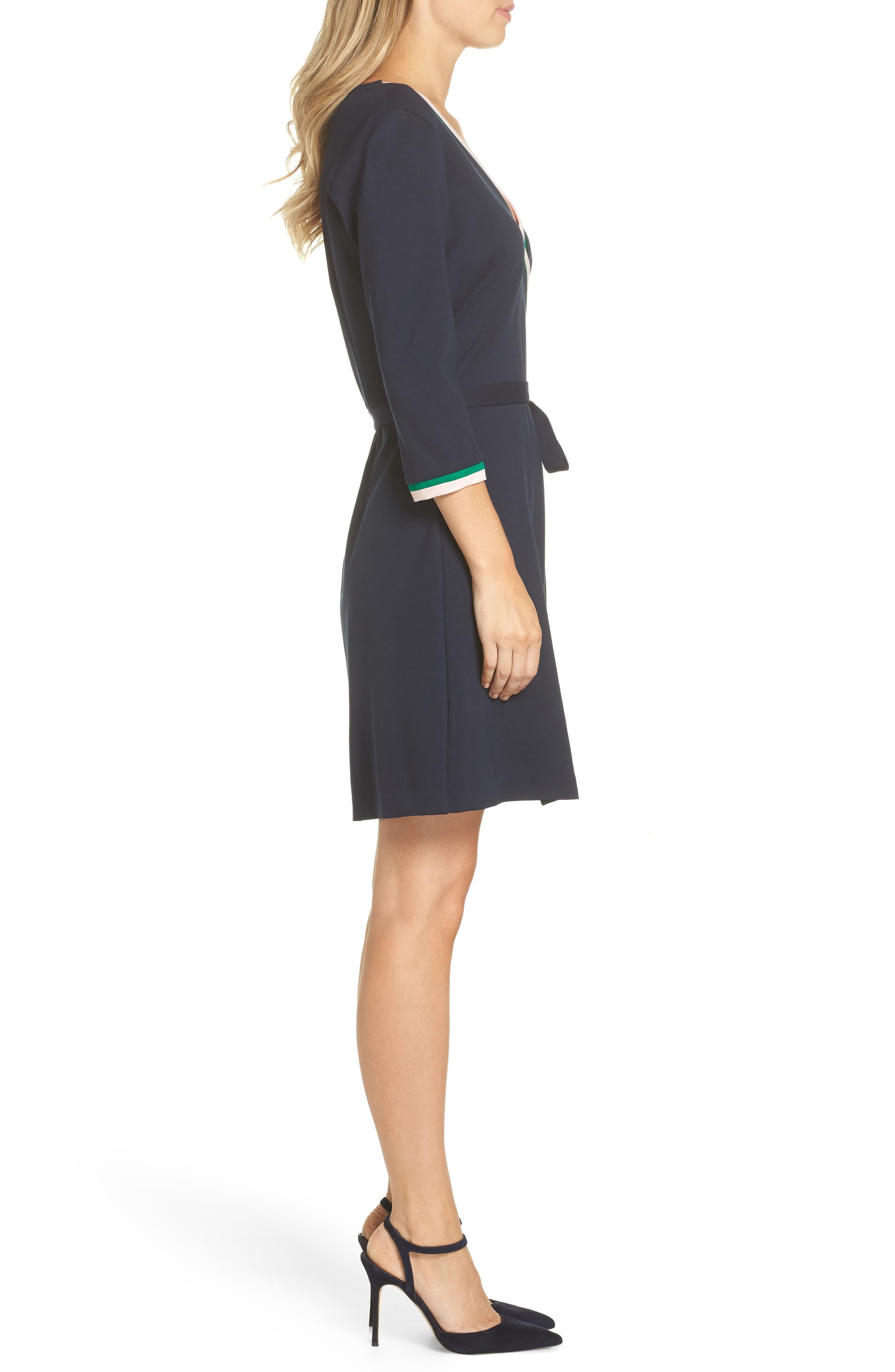 ELIZA J, Stripe Faux Wrap Dress, Alternate thumbnail 4, color, 410