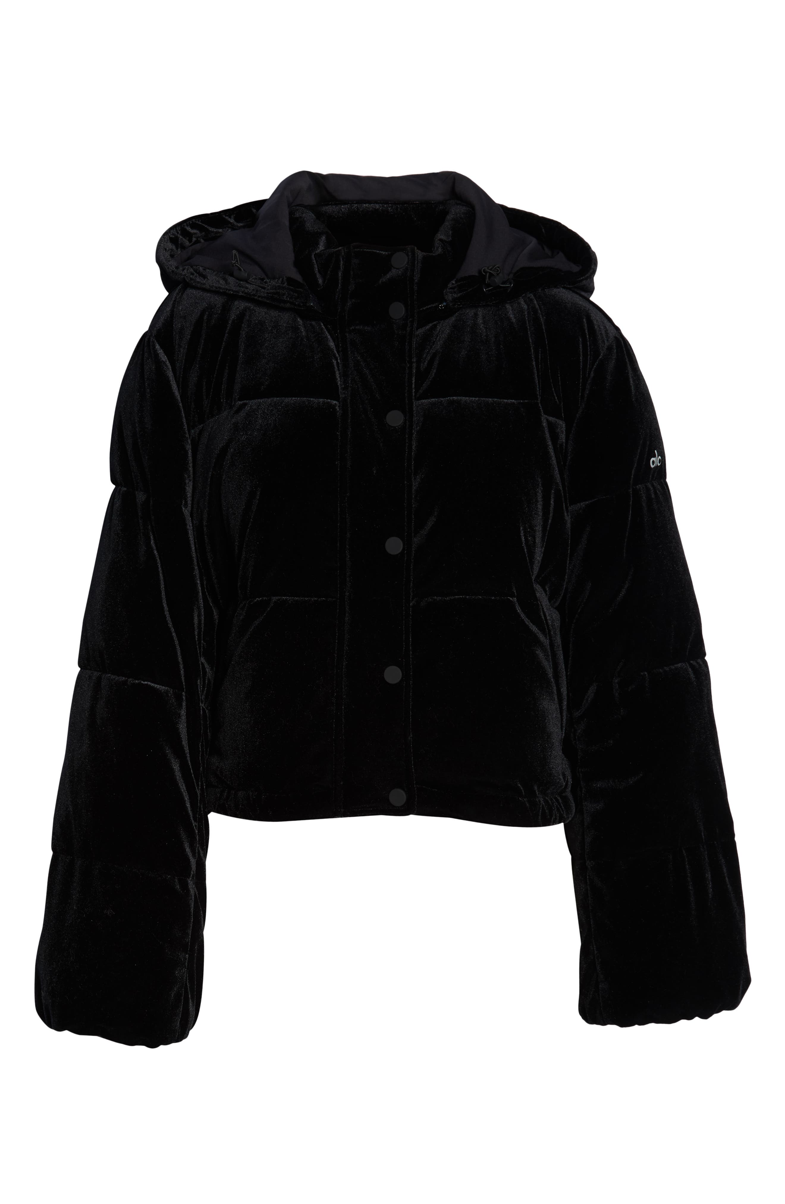 ALO, Velvet Puffer Jacket, Alternate thumbnail 6, color, 001