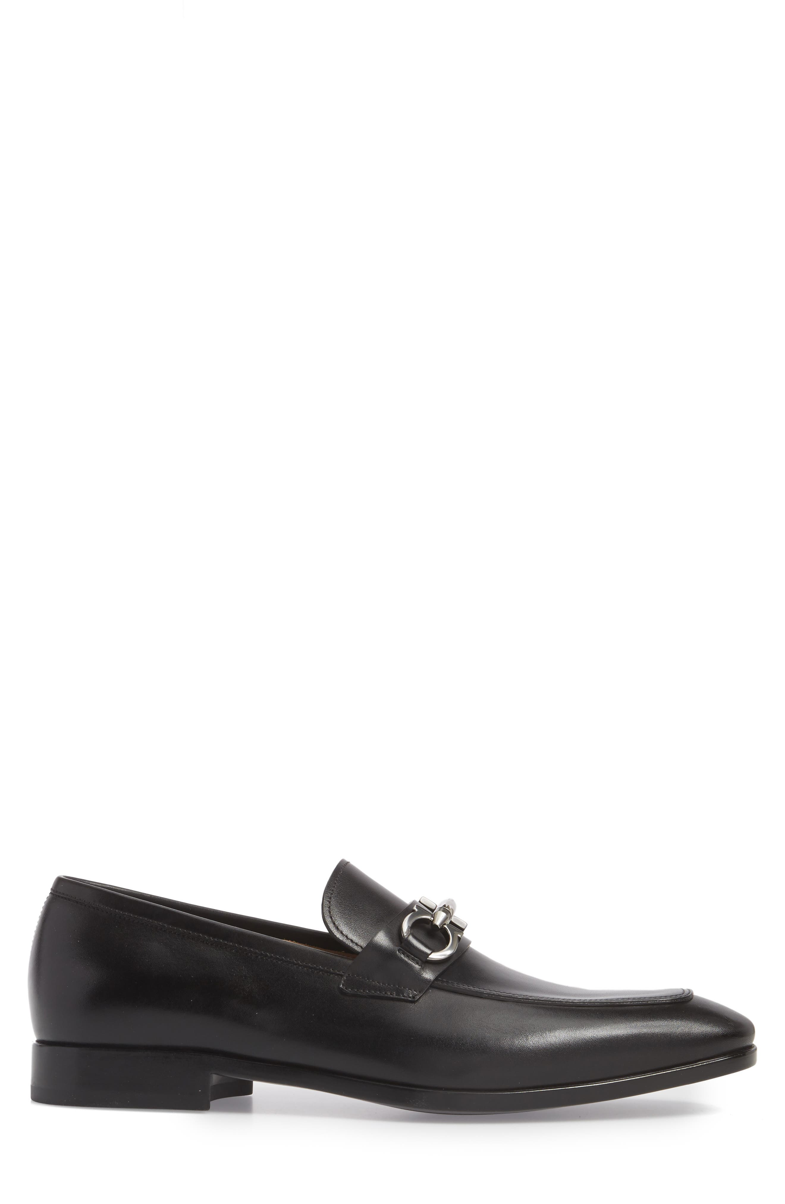 SALVATORE FERRAGAMO, Benford Rounded Bit Loafer, Alternate thumbnail 3, color, NERO LEATHER