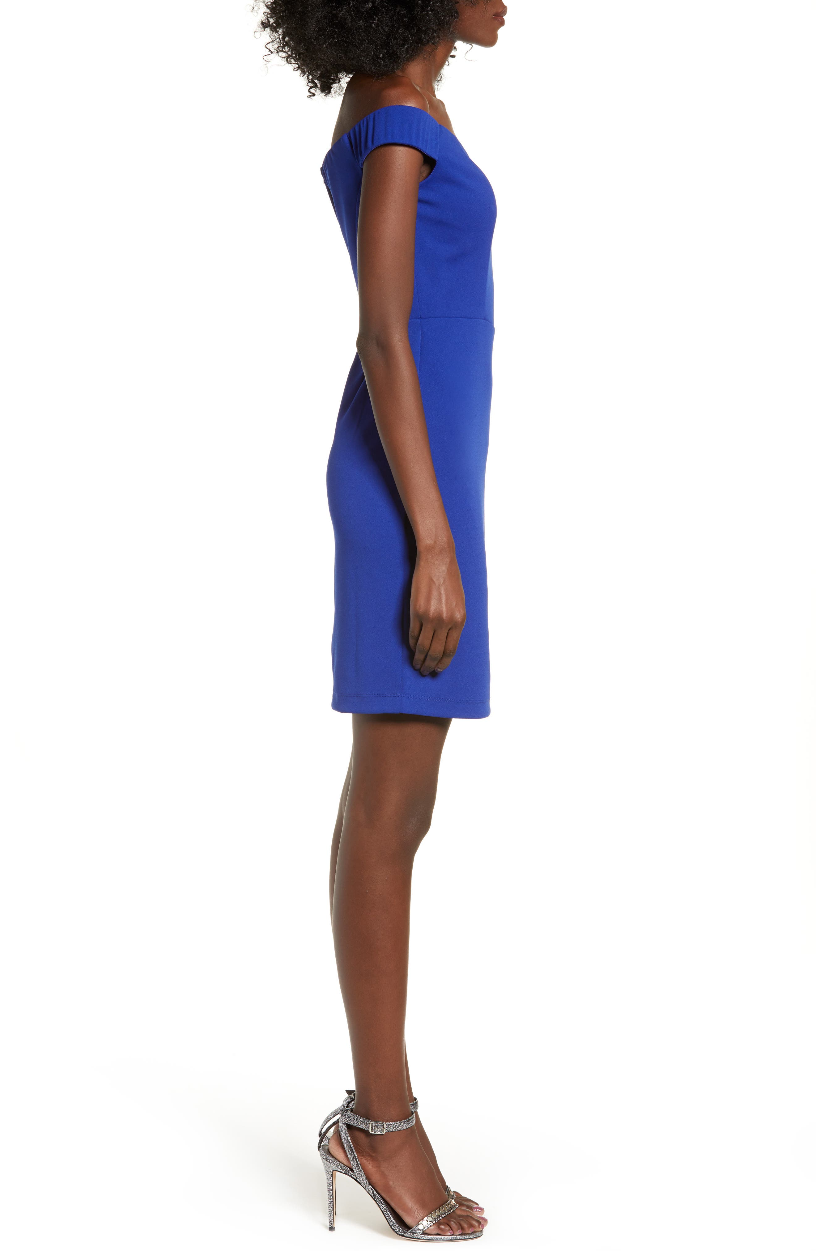 LOVE, NICKIE LEW, Off the Shoulder Body-Con Dress, Alternate thumbnail 4, color, 400