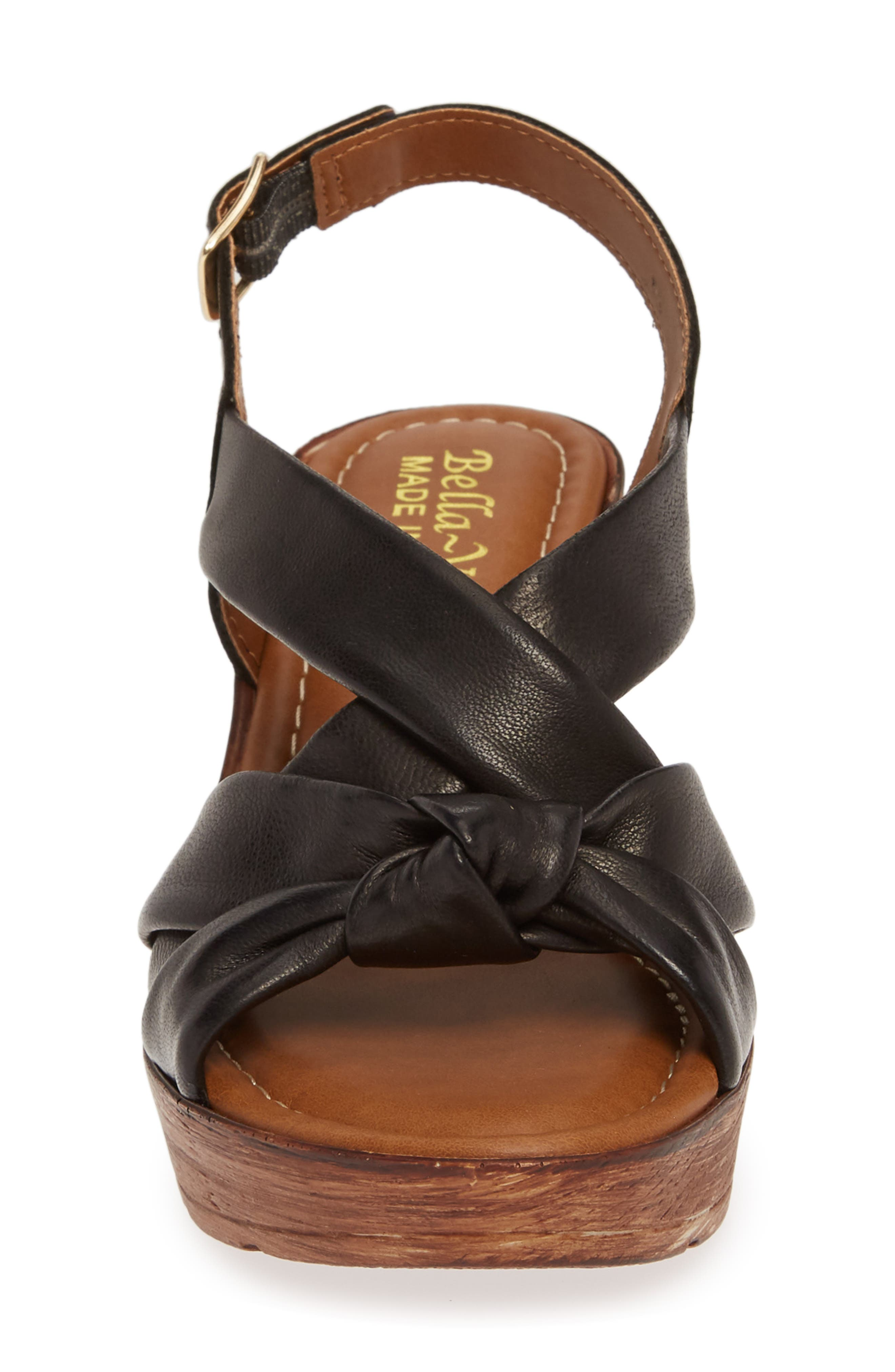 BELLA VITA, Italy Wedge Sandal, Alternate thumbnail 4, color, BLACK ITALIAN LEATHER