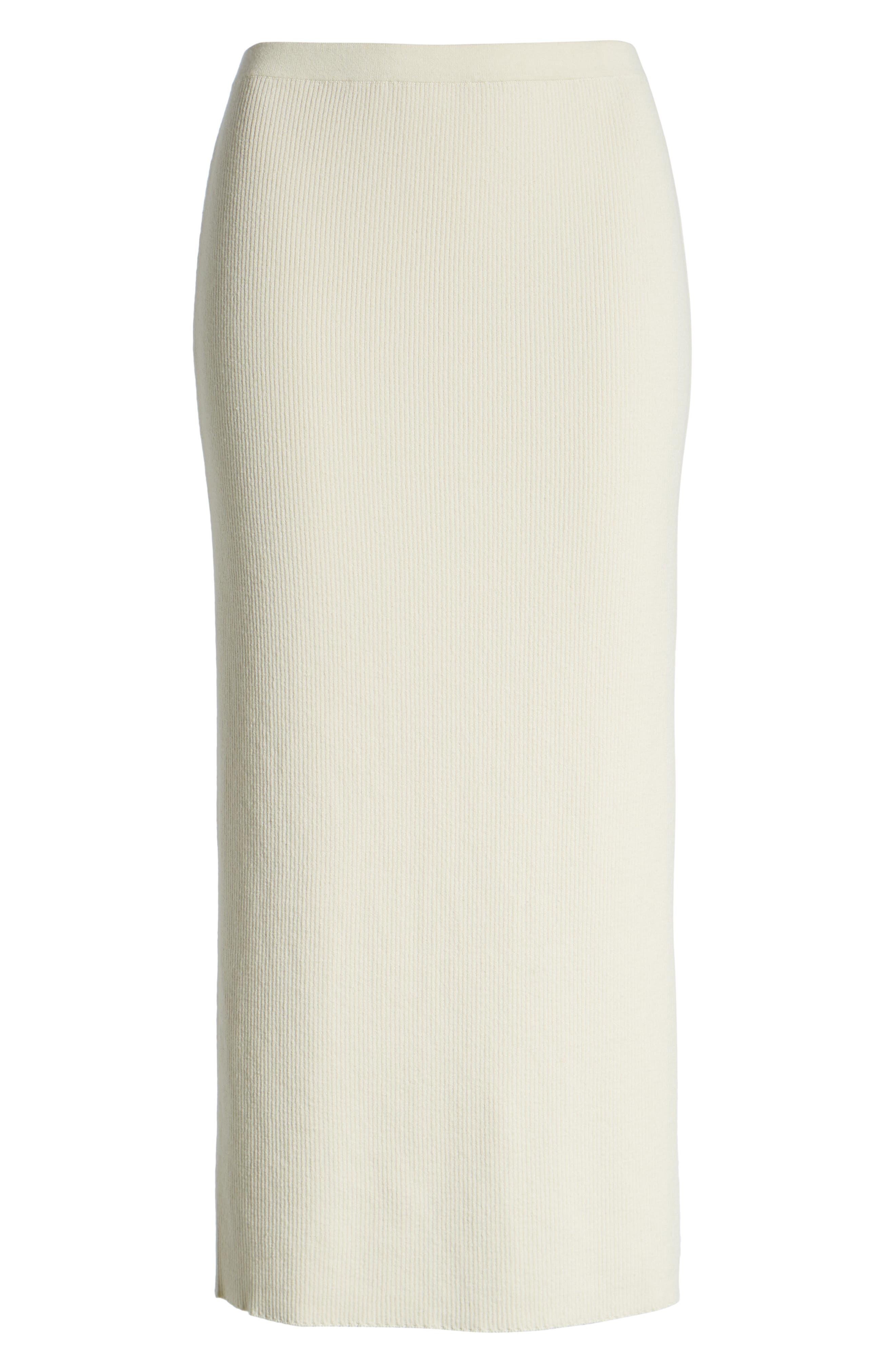SOMETHING NAVY, Rib Sweater Midi Skirt, Alternate thumbnail 7, color, 900