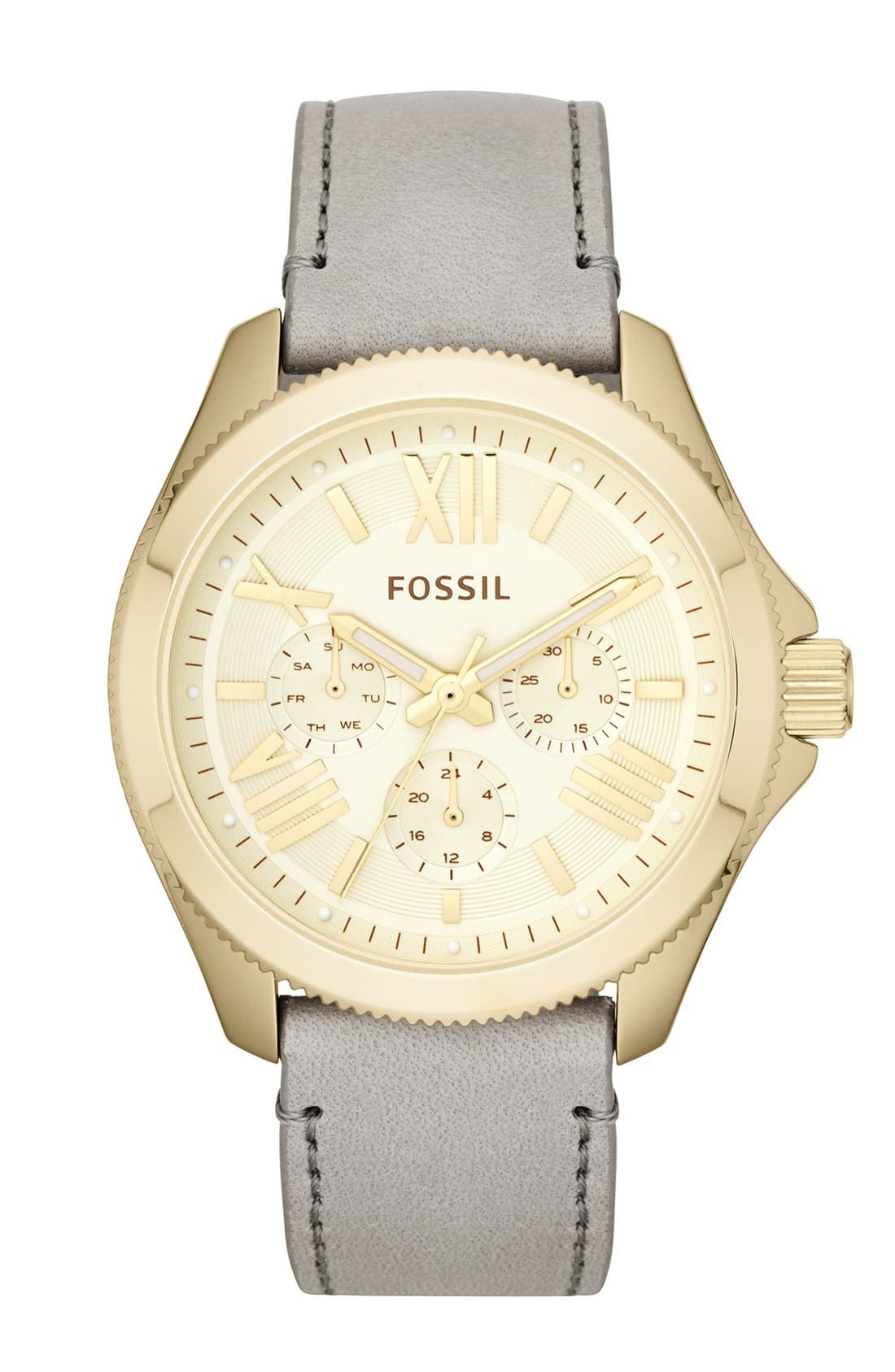FOSSIL, 'Cecile' Multifunction Leather Strap Watch, 40mm, Main thumbnail 1, color, 020