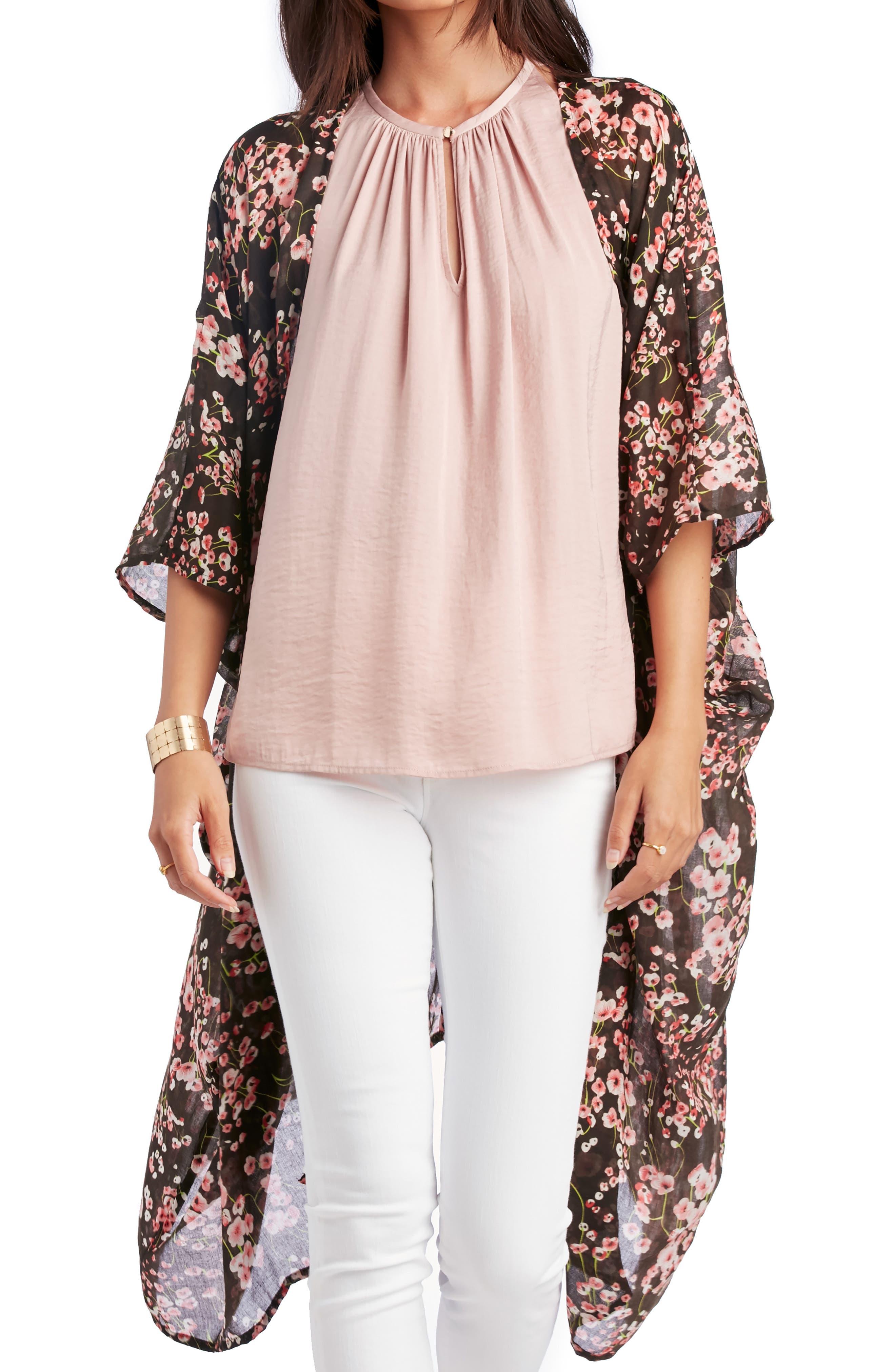 SOLE SOCIETY Cherry Blossom Kimono, Main, color, BLACK MULTI