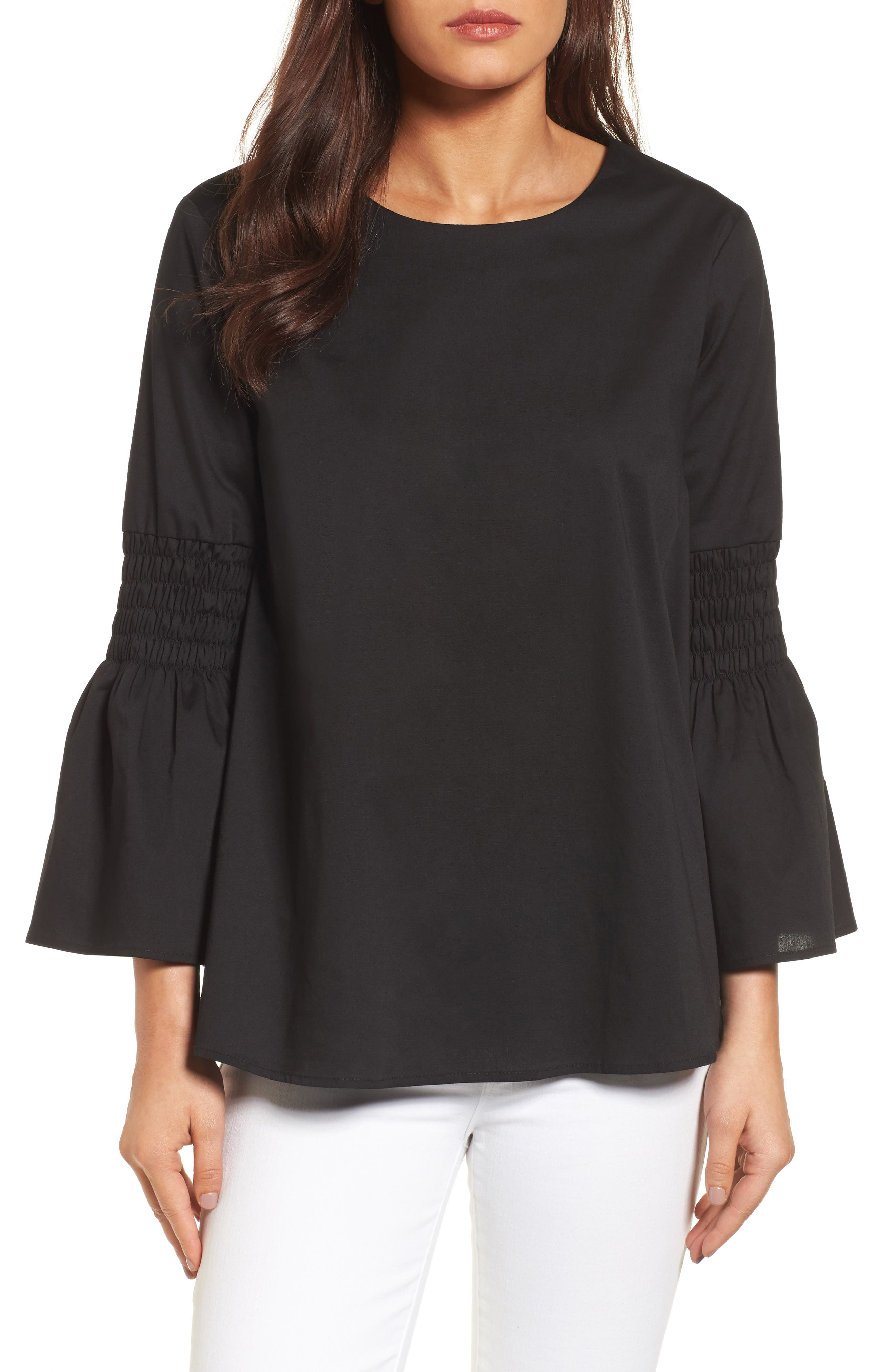 HALOGEN<SUP>®</SUP>, Bow Back Bell Sleeve Top, Main thumbnail 1, color, 001