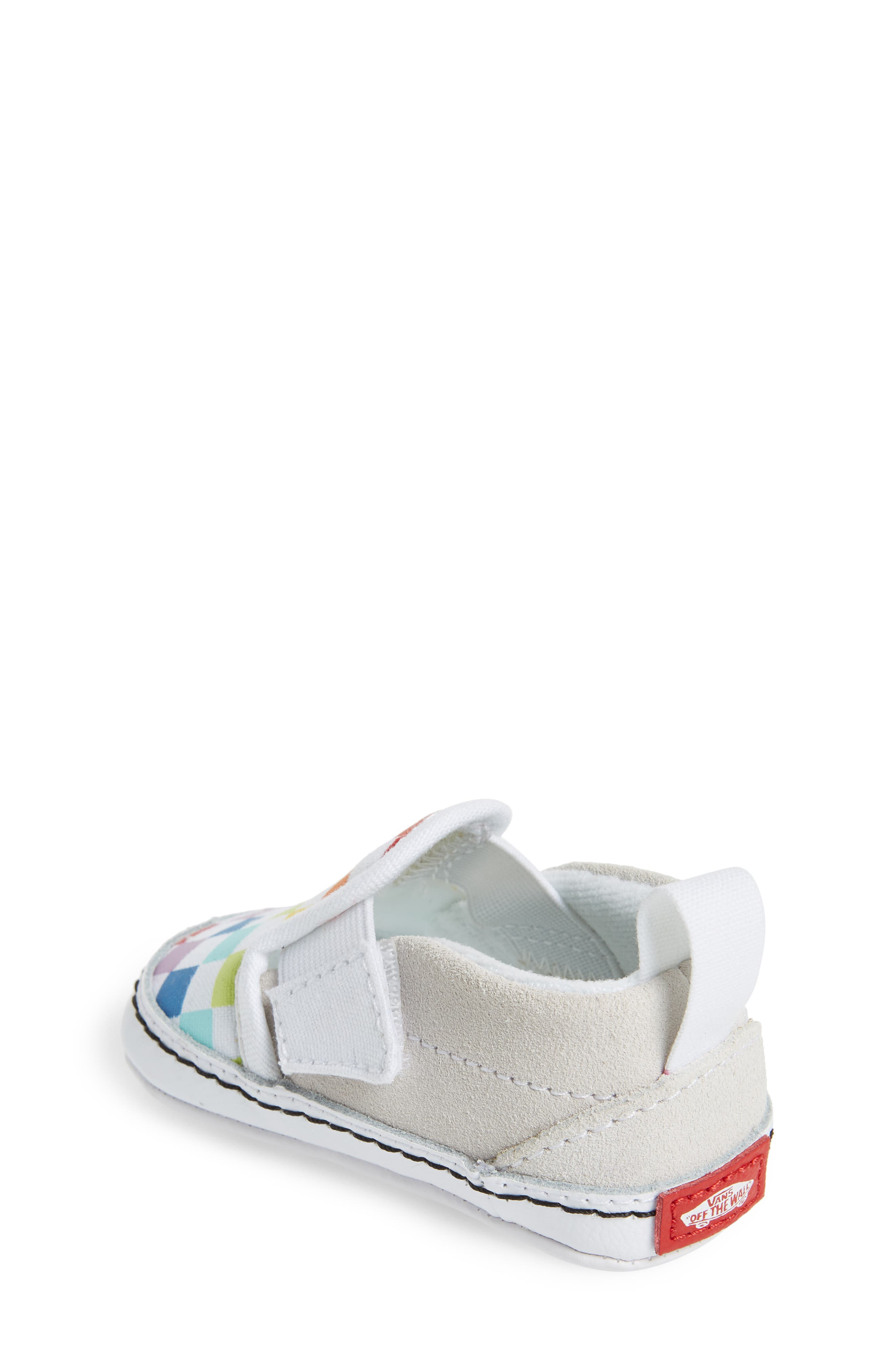 VANS, Slip-On Crib Shoe, Alternate thumbnail 2, color, CHECKERBOARD RAINBOW/ WHITE