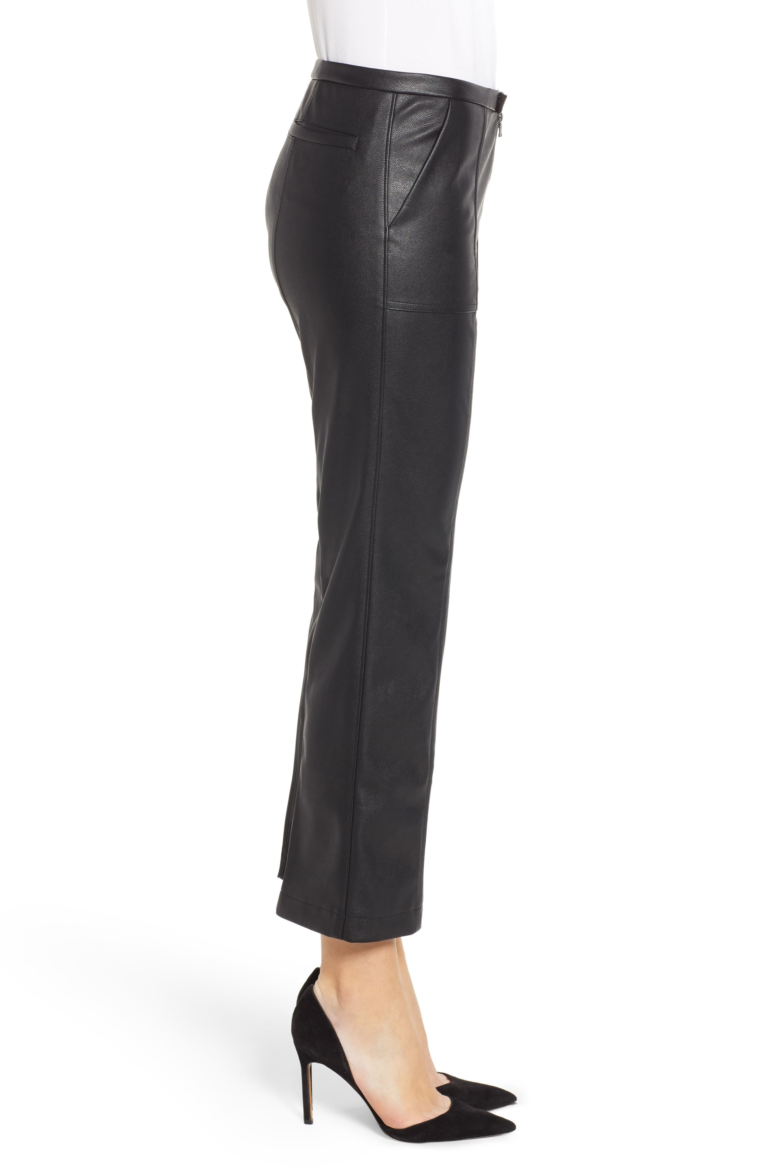 DAVID LERNER, Pintuck Flare Faux Leather Trousers, Alternate thumbnail 4, color, 001