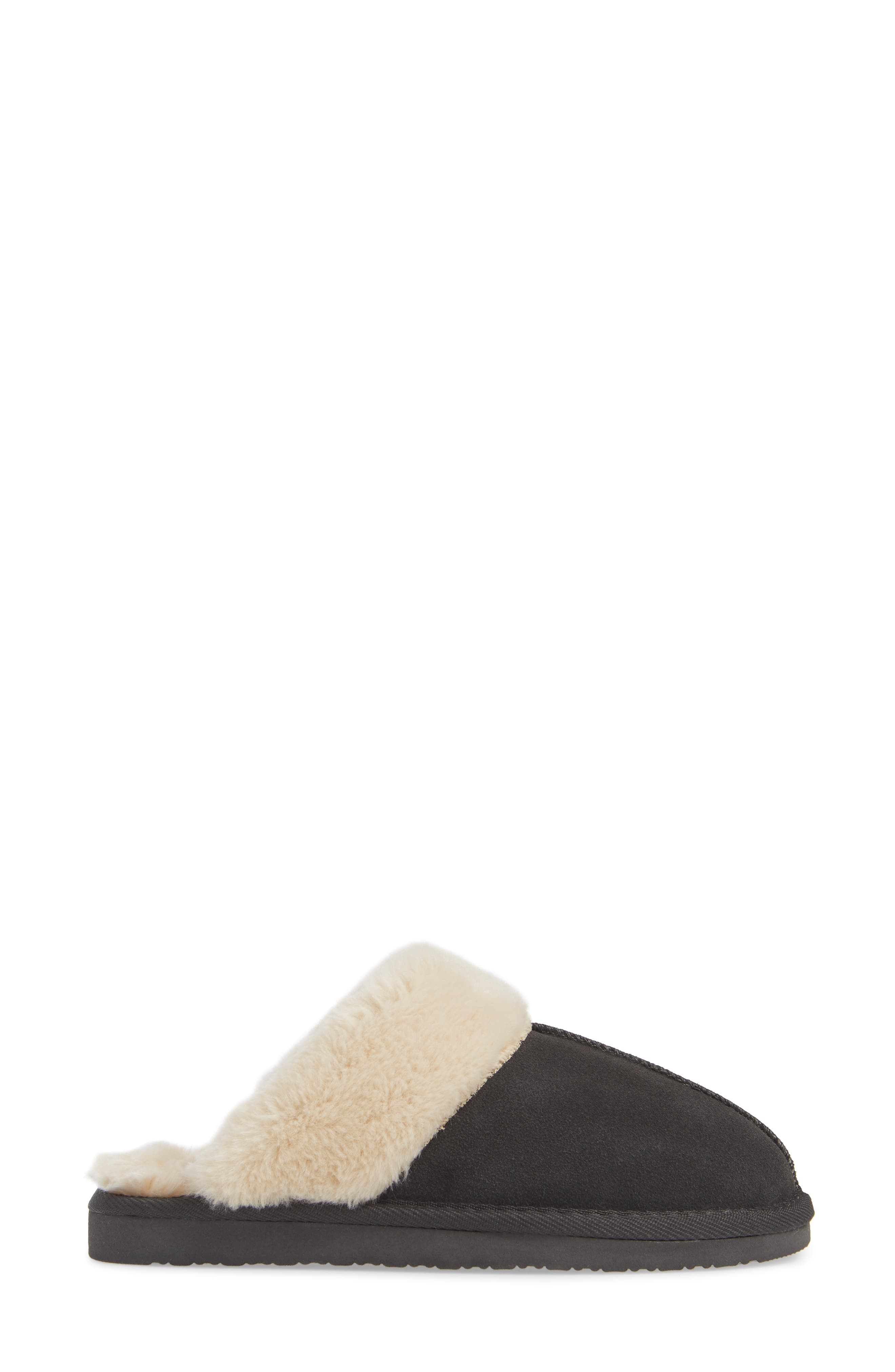 MINNETONKA, Mule Slipper, Alternate thumbnail 3, color, CHARCOAL SUEDE