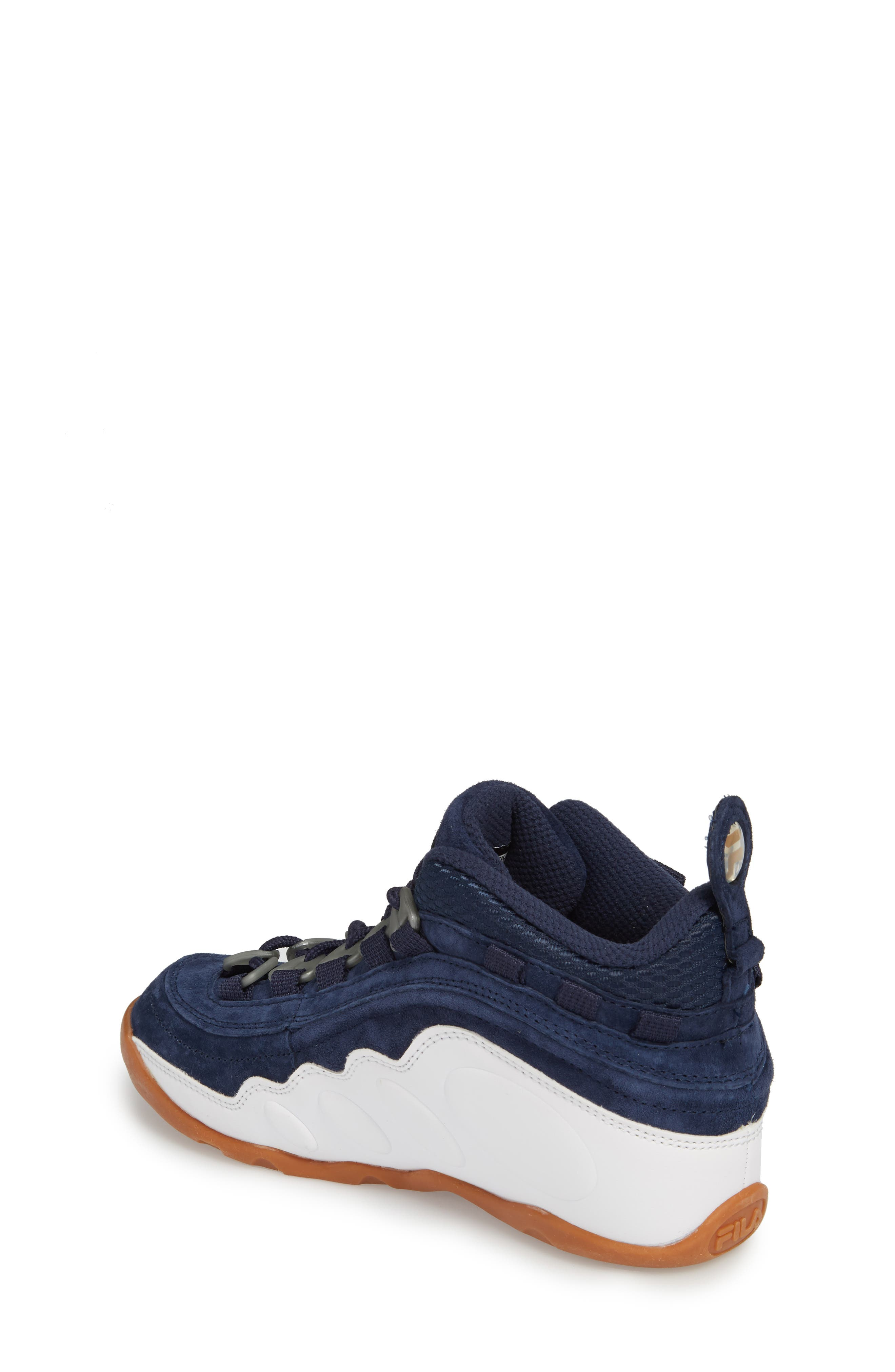 FILA, Bubbles Mid Top Sneaker Boot, Alternate thumbnail 2, color, NAVY/ GOLD/ WHITE