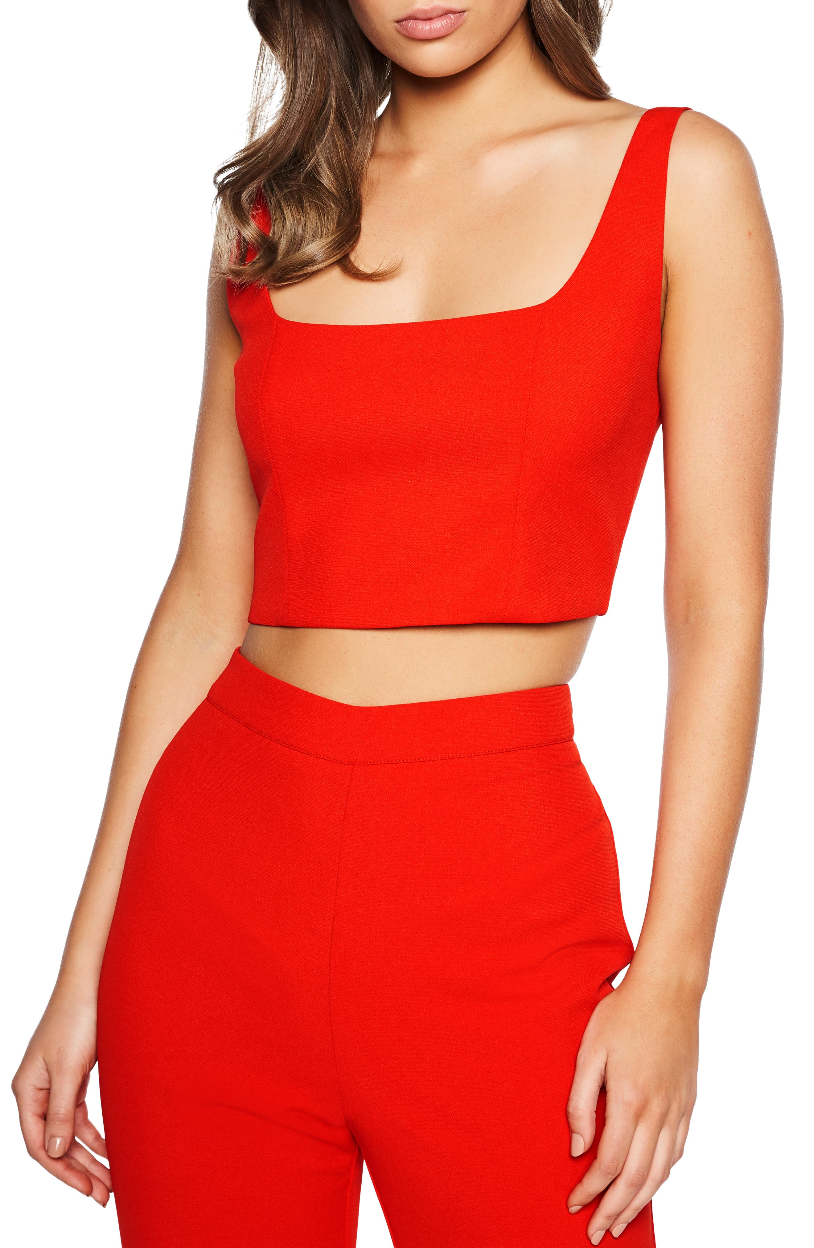 BARDOT Chantelle Top, Main, color, FIRE RED