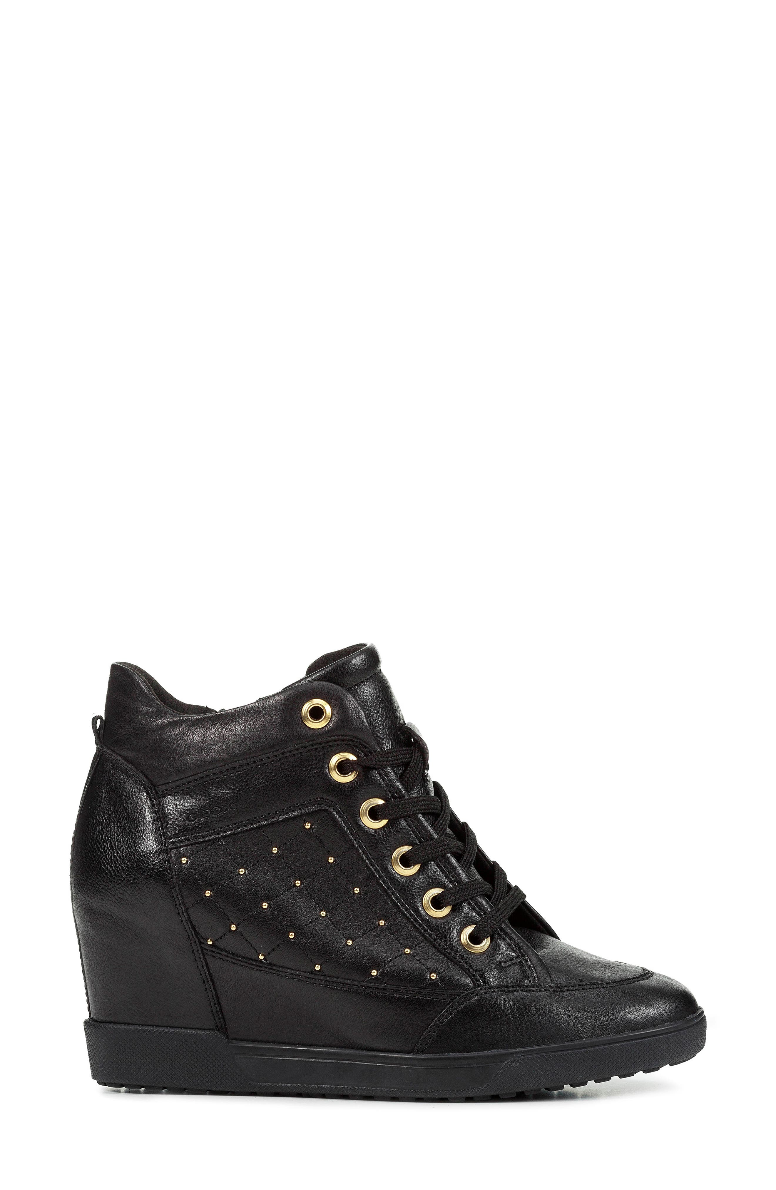GEOX, Carum Wedge Sneaker, Alternate thumbnail 3, color, 001