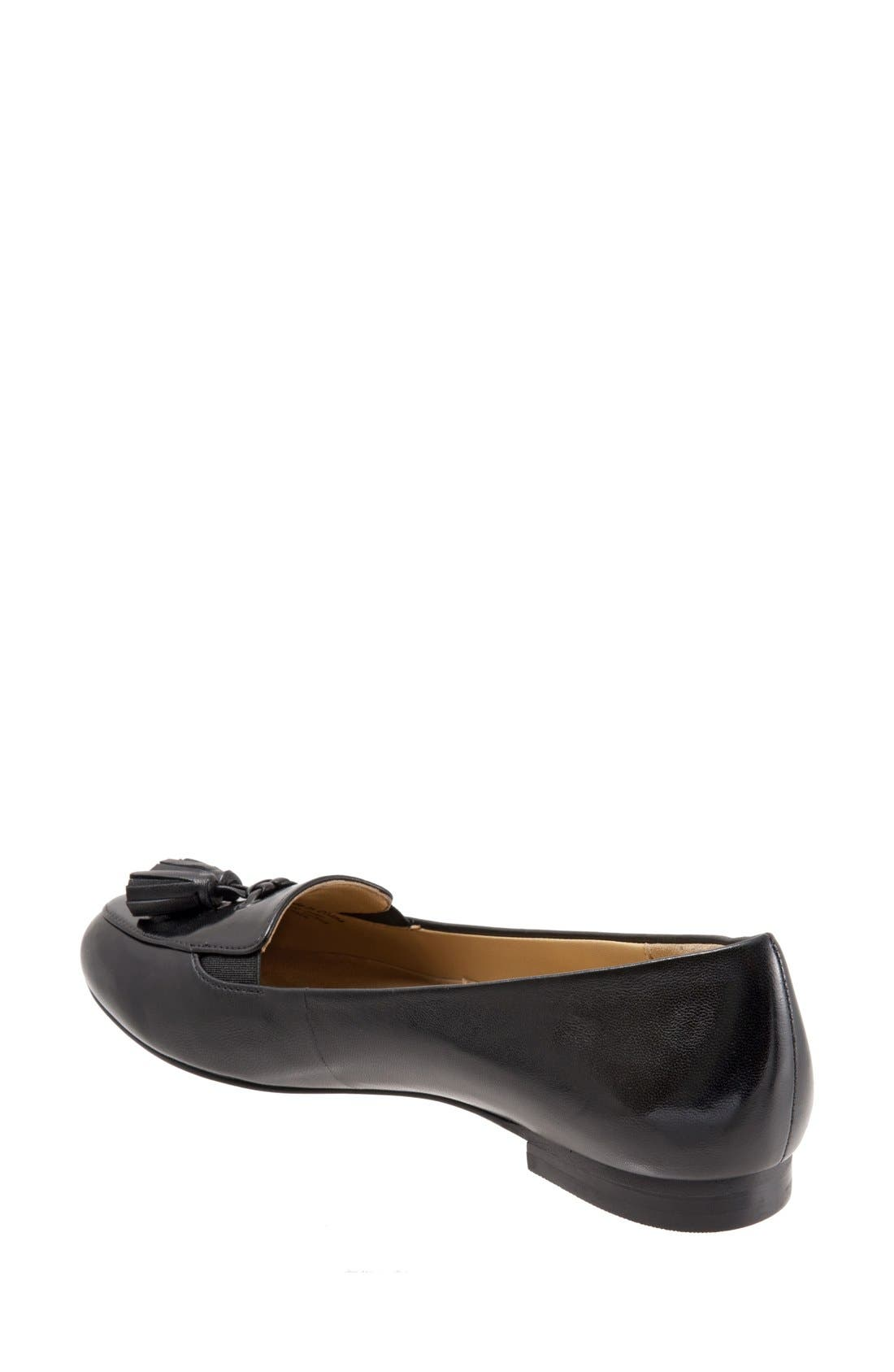 TROTTERS, 'Caroline' Tassel Loafer, Alternate thumbnail 3, color, BLACK LEATHER
