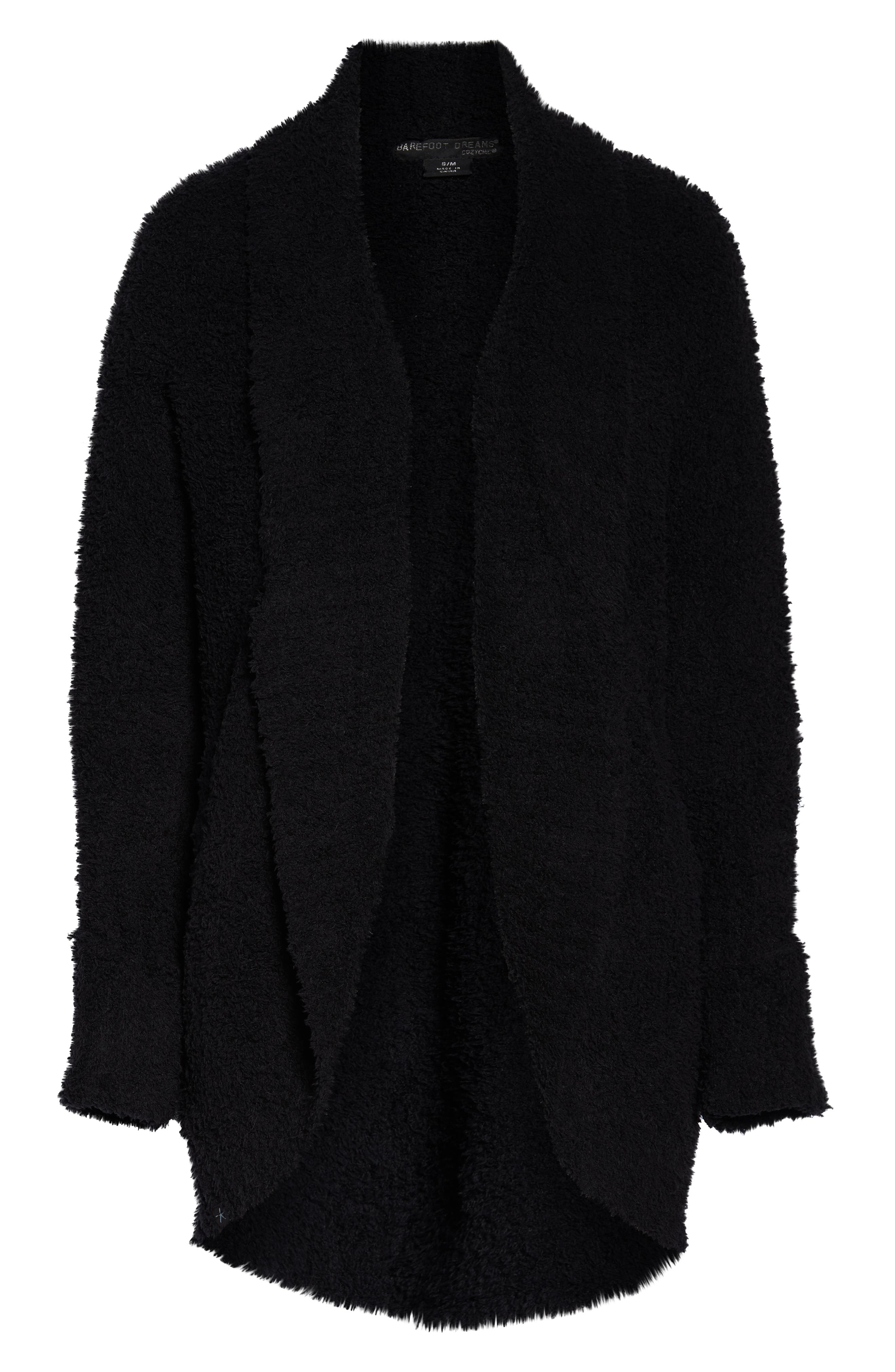 BAREFOOT DREAMS<SUP>®</SUP>, CozyChic<sup>®</sup> Cocoon Cardigan, Alternate thumbnail 6, color, BLACK