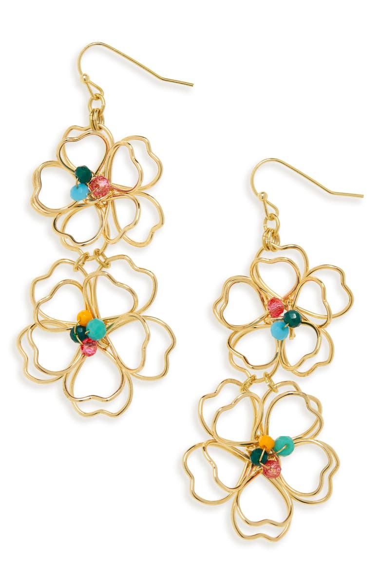 STELLA + RUBY Wire Flower Earrings, Main, color, GOLD / MULTI