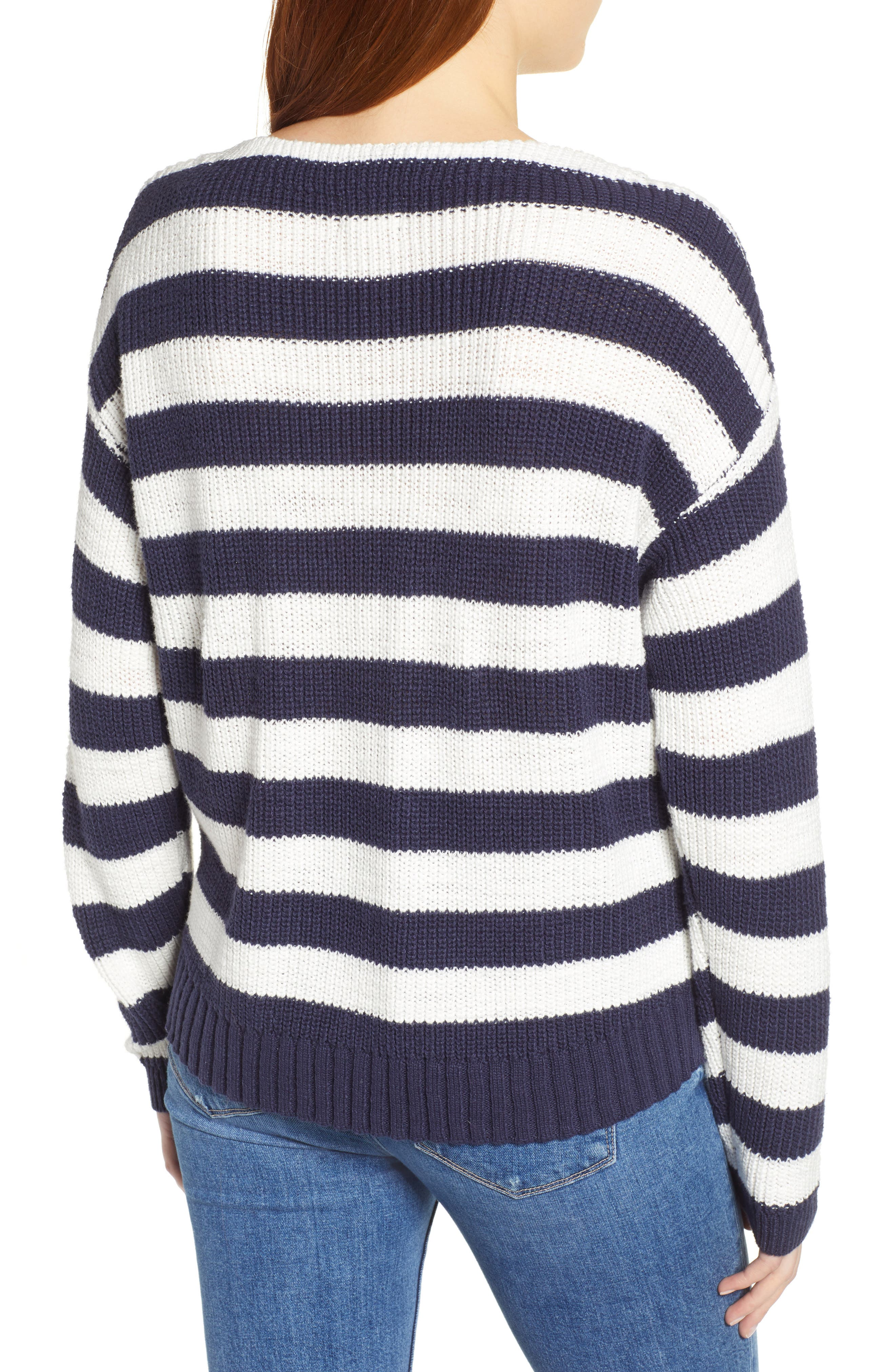 CASLON<SUP>®</SUP>, Boat Neck Pullover, Alternate thumbnail 2, color, NAVY STRIPE