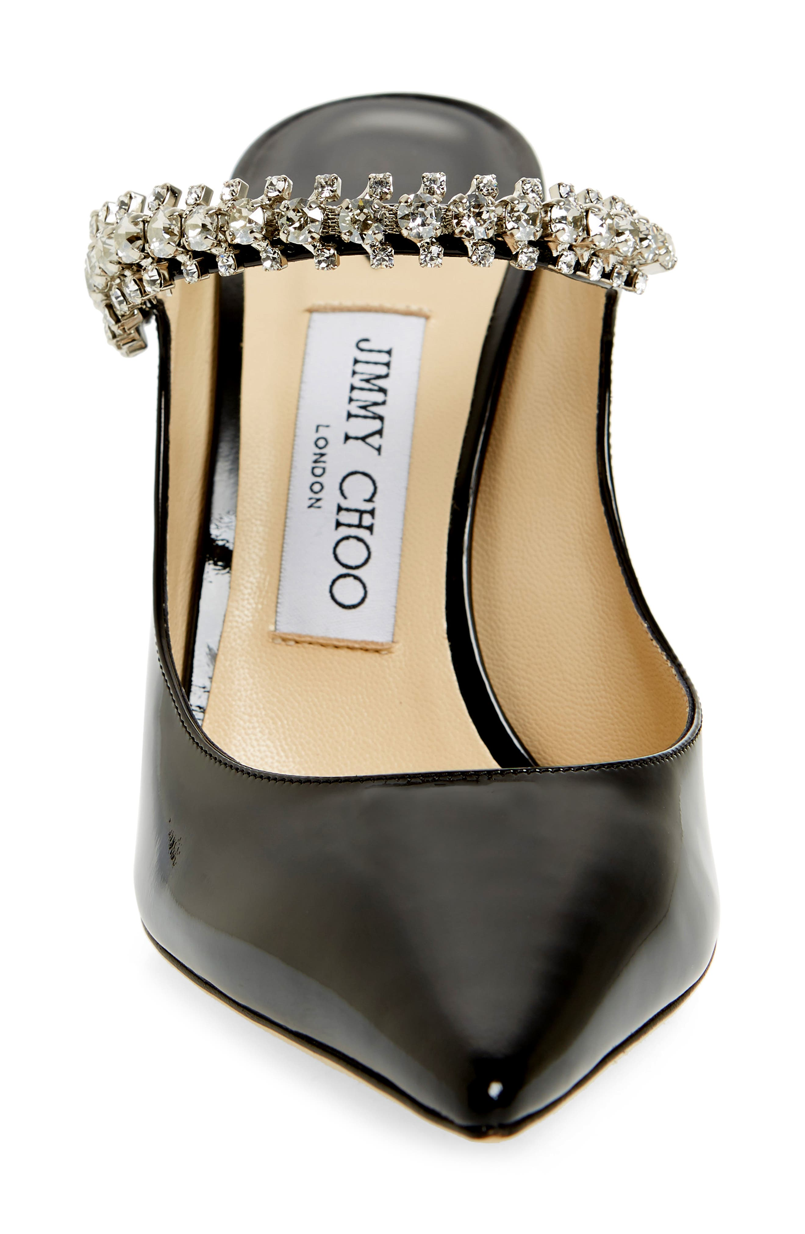 JIMMY CHOO, Embellished Mule, Alternate thumbnail 4, color, BLACK