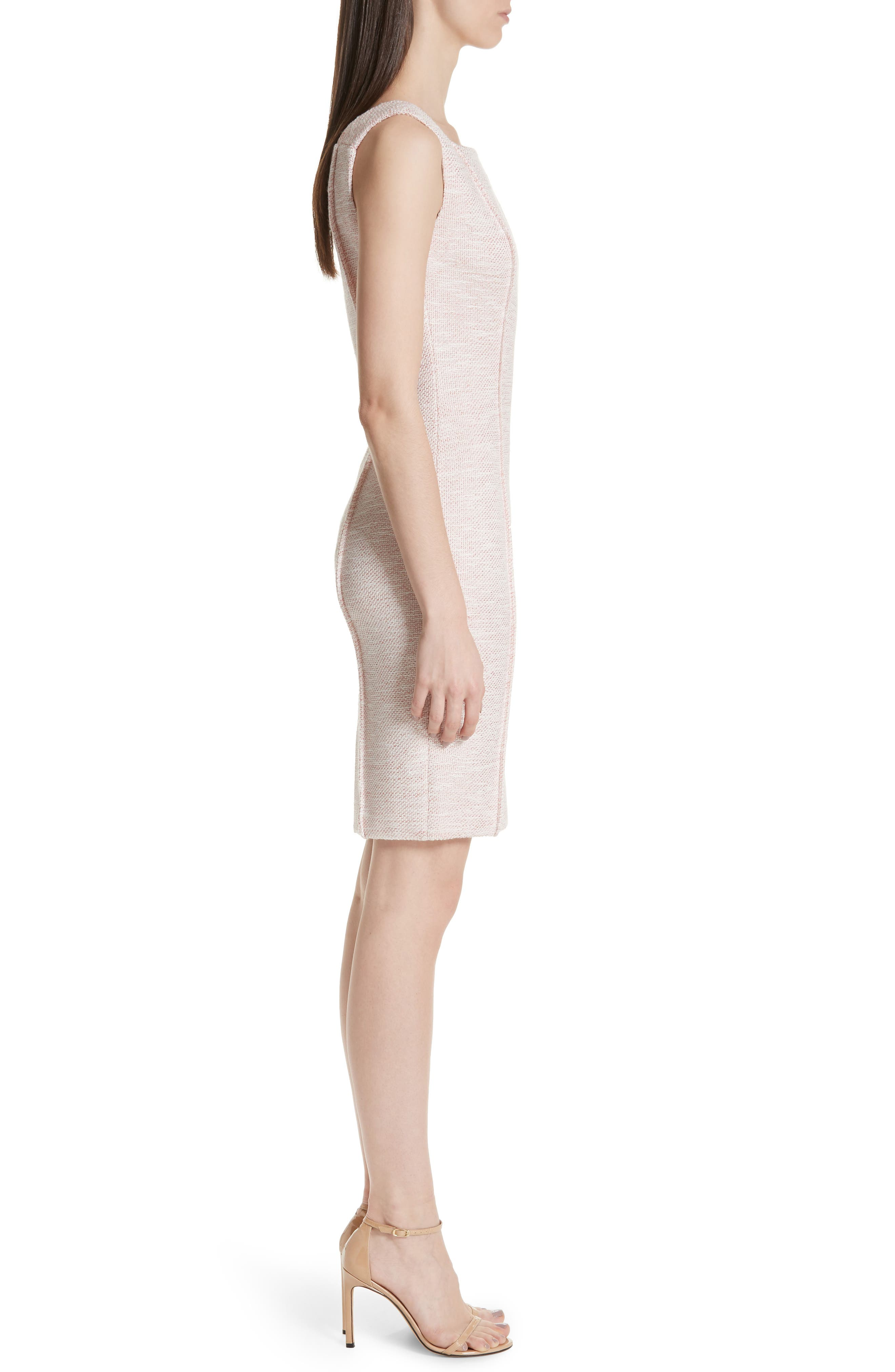 ST. JOHN COLLECTION, Belinda Knit Square Neck Dress, Alternate thumbnail 3, color, WHITE/ CORAL MULTI