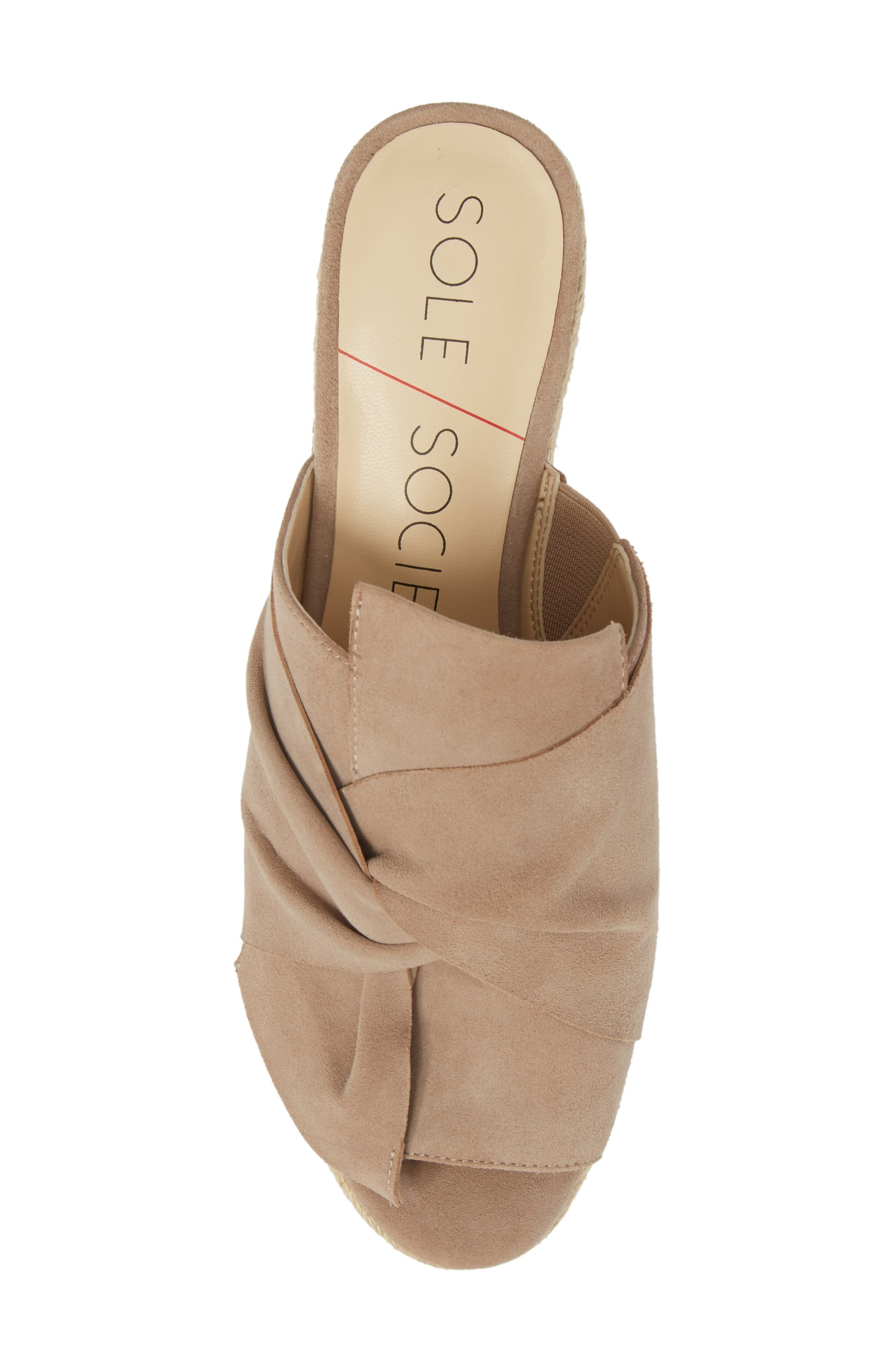 SOLE SOCIETY, Carima Espadrille Wedge, Alternate thumbnail 5, color, TAUPE FABRIC