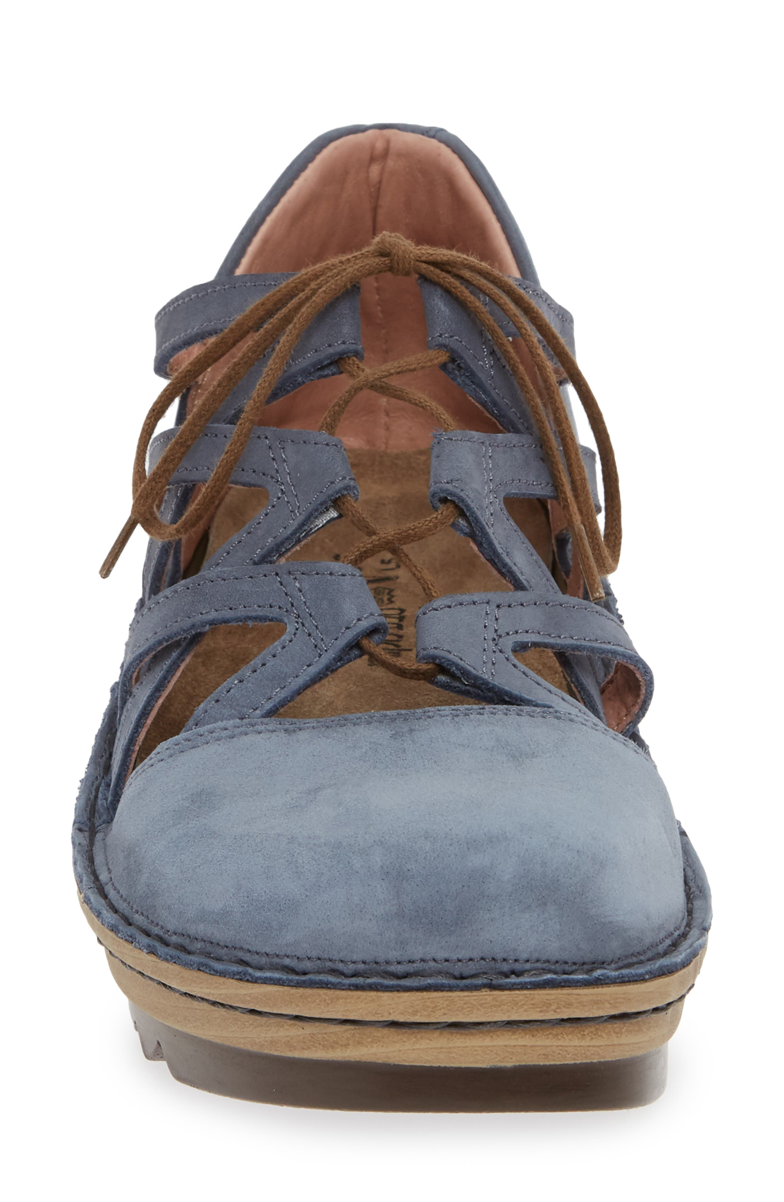 NAOT, Calathea Ghillie Laced Wedge, Alternate thumbnail 4, color, FEATHERY BLUE NUBUCK