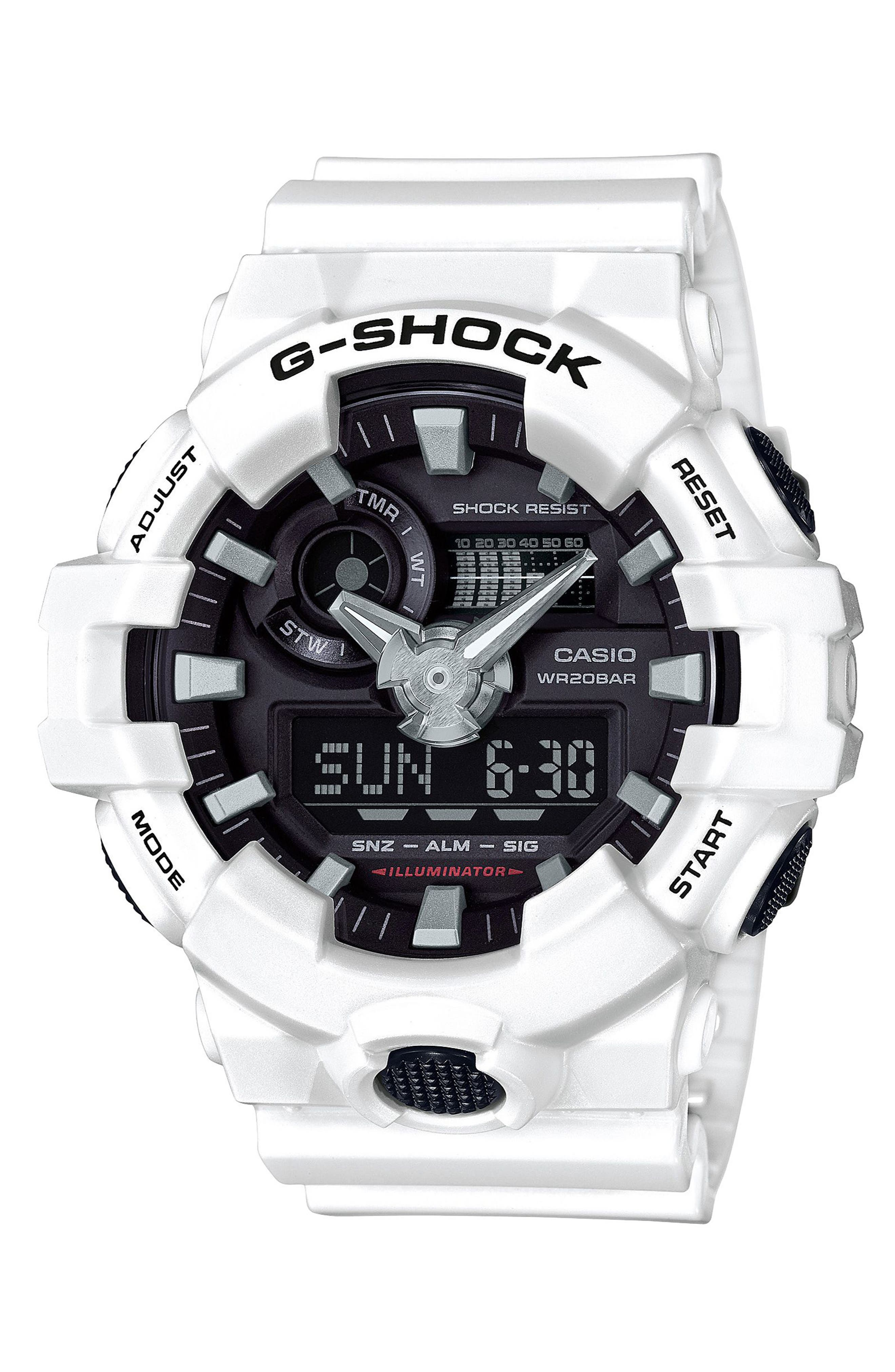 G-SHOCK BABY-G, G-Shock GA700 Ana-Digi Watch, 57.5mm, Main thumbnail 1, color, WHITE/ BLACK