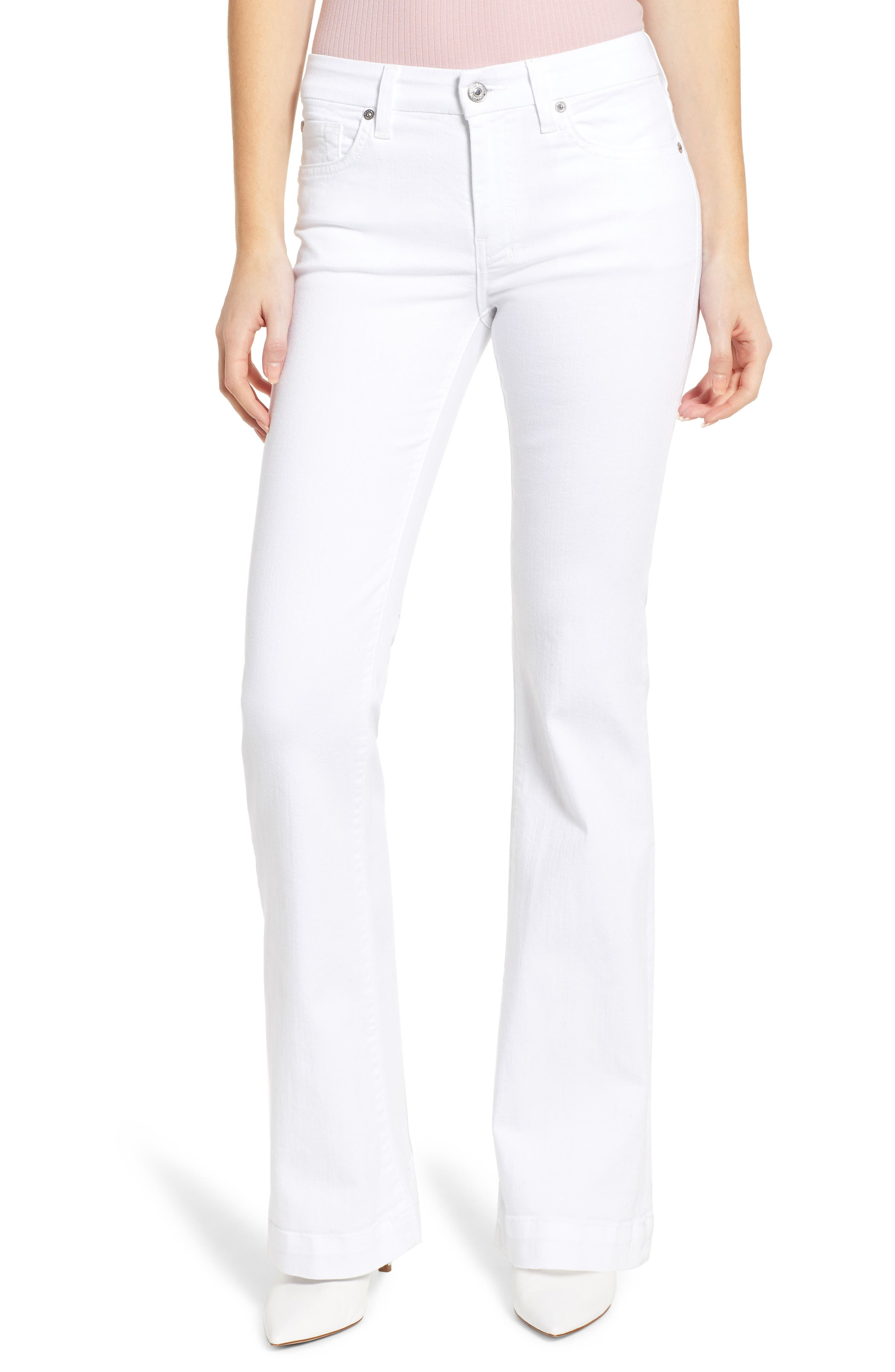 7 FOR ALL MANKIND<SUP>®</SUP> Dojo Flare Jeans, Main, color, WHITE RUNWAY DENIM