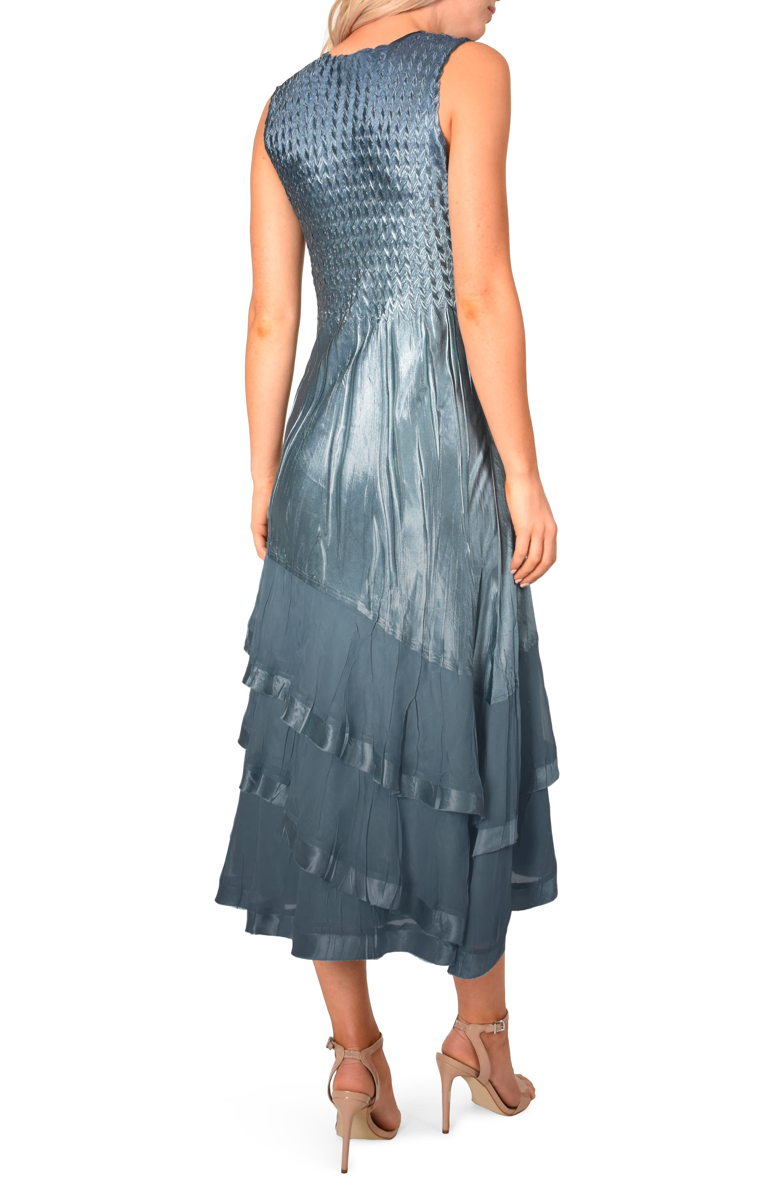KOMAROV, Asymmetrical Jacket Dress, Alternate thumbnail 5, color, SILVER BLUE NIGHT OMBRE
