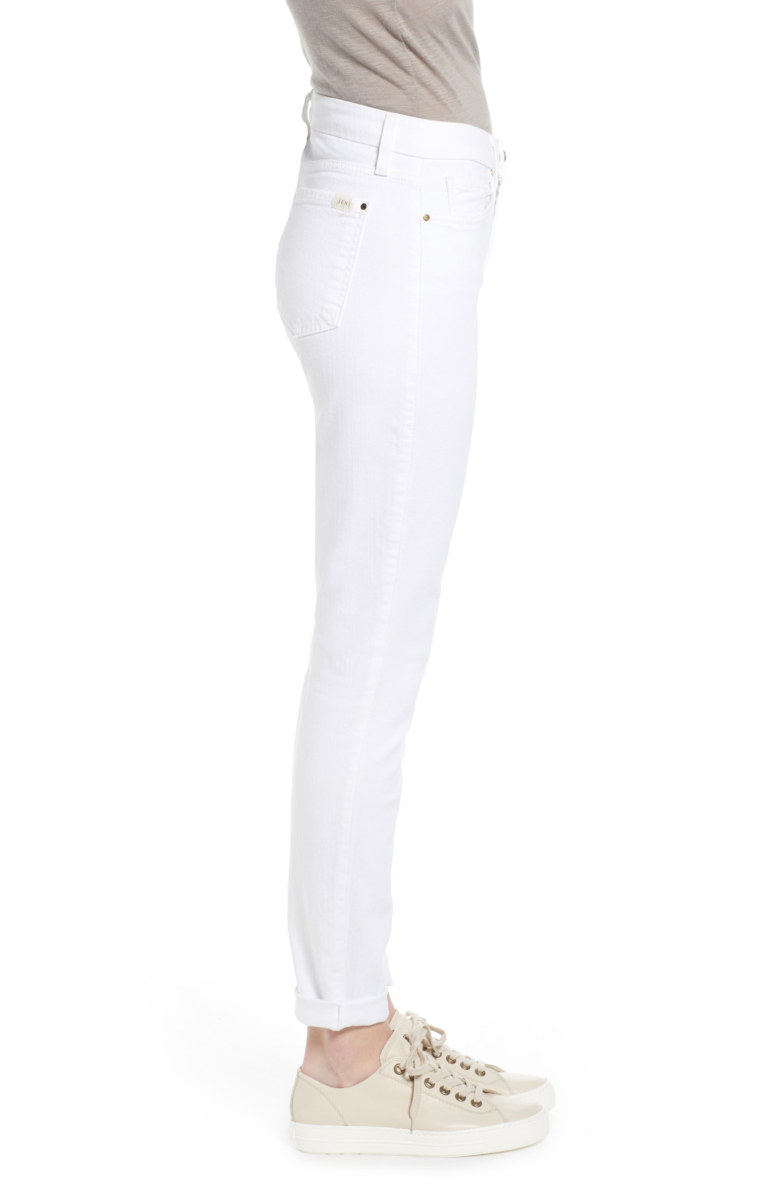 JEN7 BY 7 FOR ALL MANKIND, Stretch Skinny Jeans, Alternate thumbnail 4, color, WHITE
