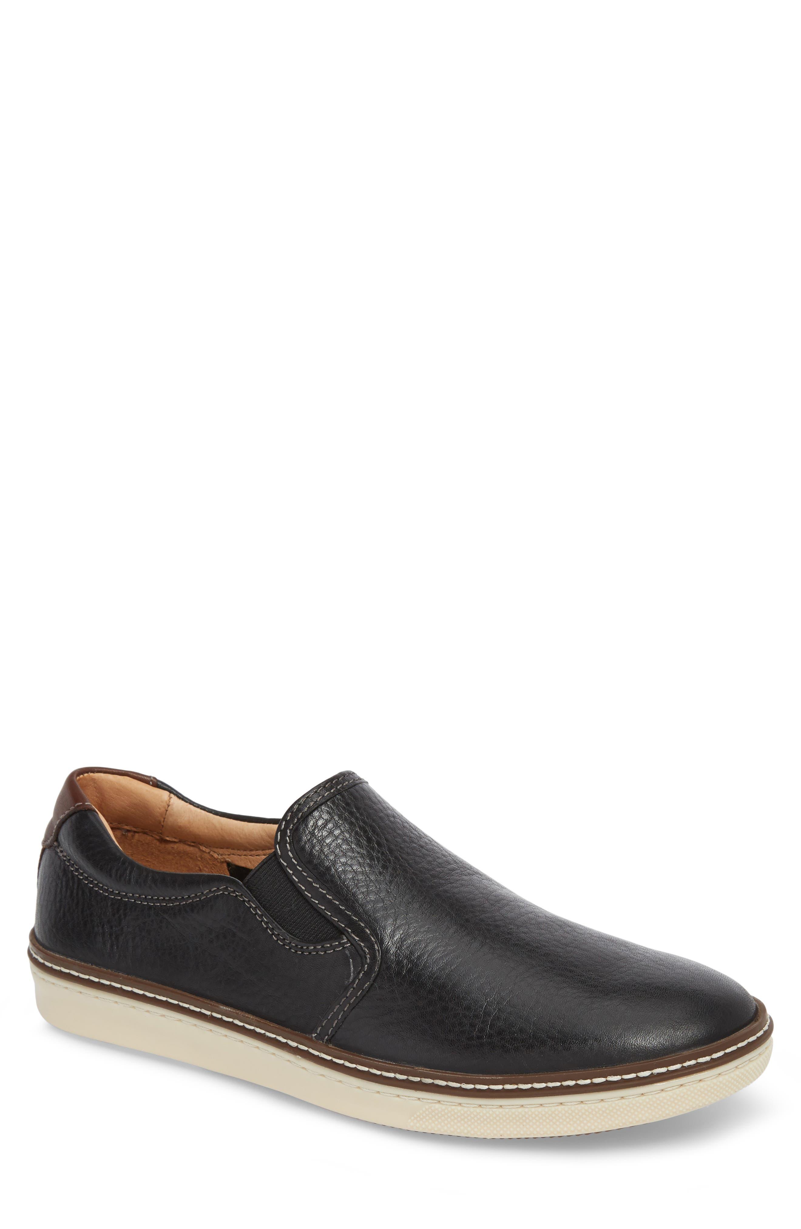 JOHNSTON & MURPHY, McGuffey Slip-On Sneaker, Main thumbnail 1, color, BLACK LEATHER