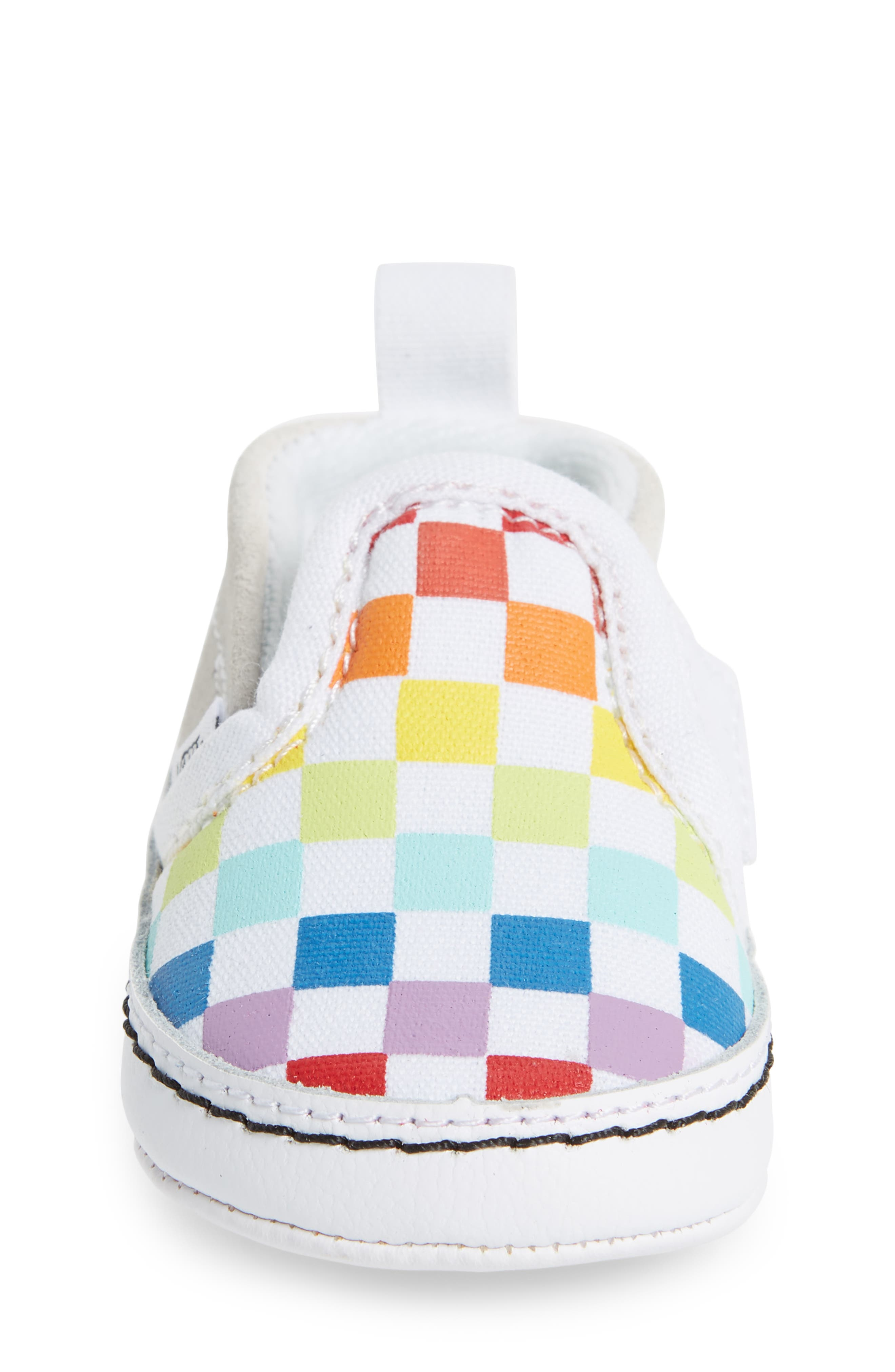 VANS, Slip-On Crib Shoe, Alternate thumbnail 4, color, CHECKERBOARD RAINBOW/ WHITE