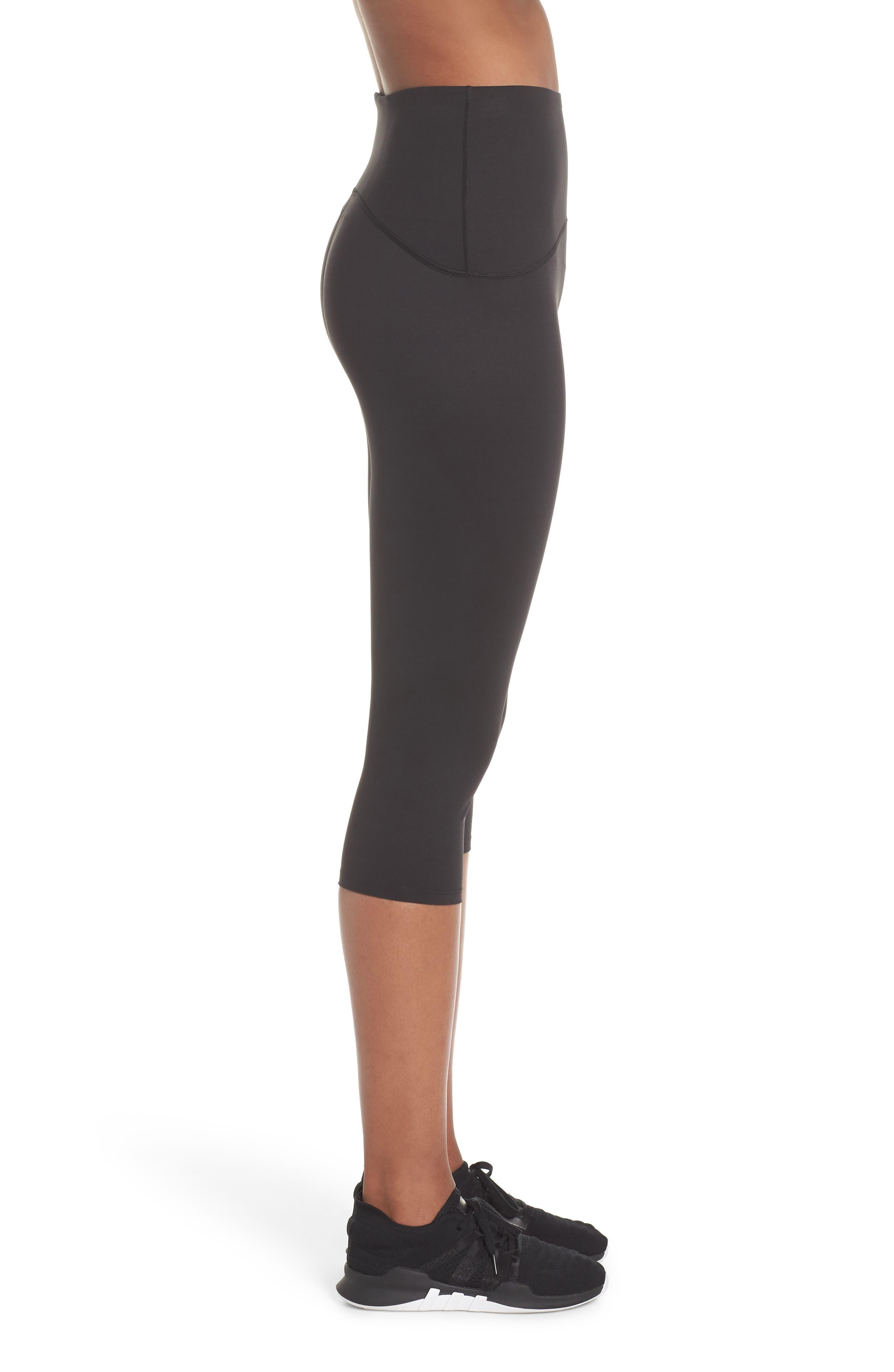 SPANX<SUP>®</SUP>, Active Knee-Length Leggings, Alternate thumbnail 4, color, BLACK