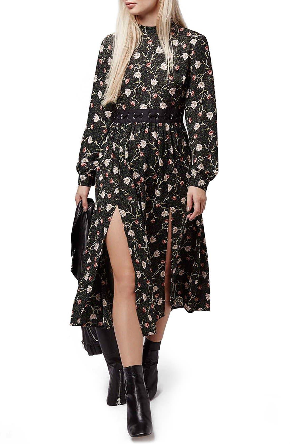 TOPSHOP, Tulip Print Midi Dress, Main thumbnail 1, color, 301