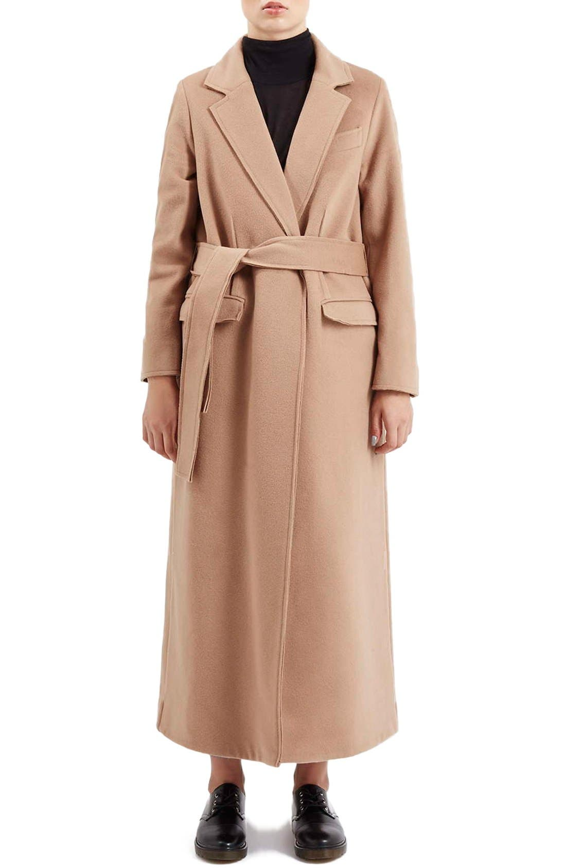 TOPSHOP BOUTIQUE, Wrap Coat, Main thumbnail 1, color, 252