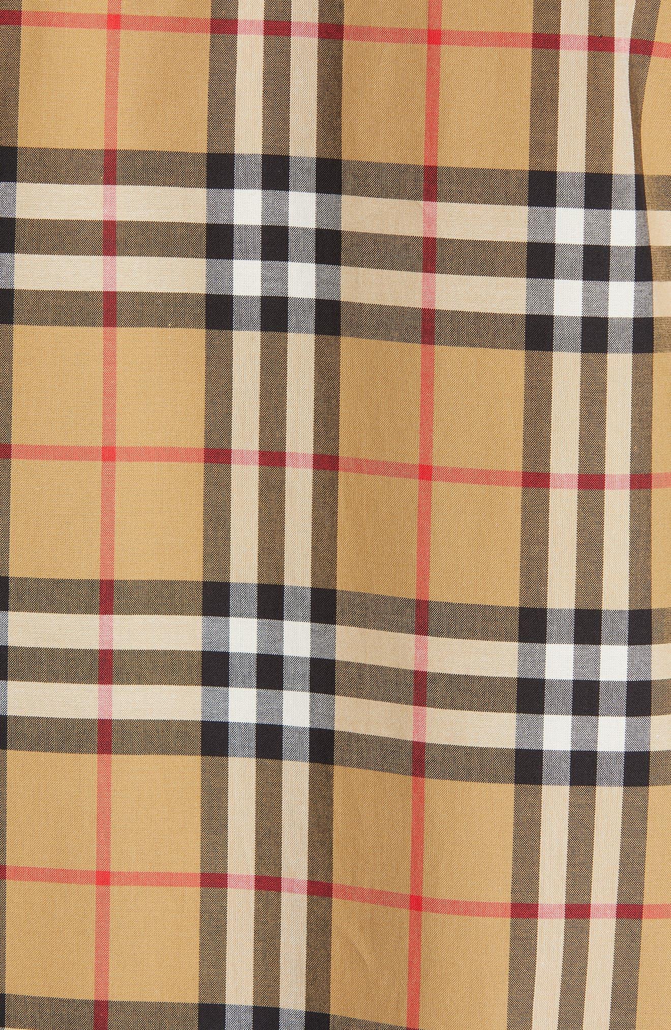 BURBERRY, Saoirse Vintage Check Cotton Shirt, Alternate thumbnail 6, color, ANTIQUE YELLOW CHECK
