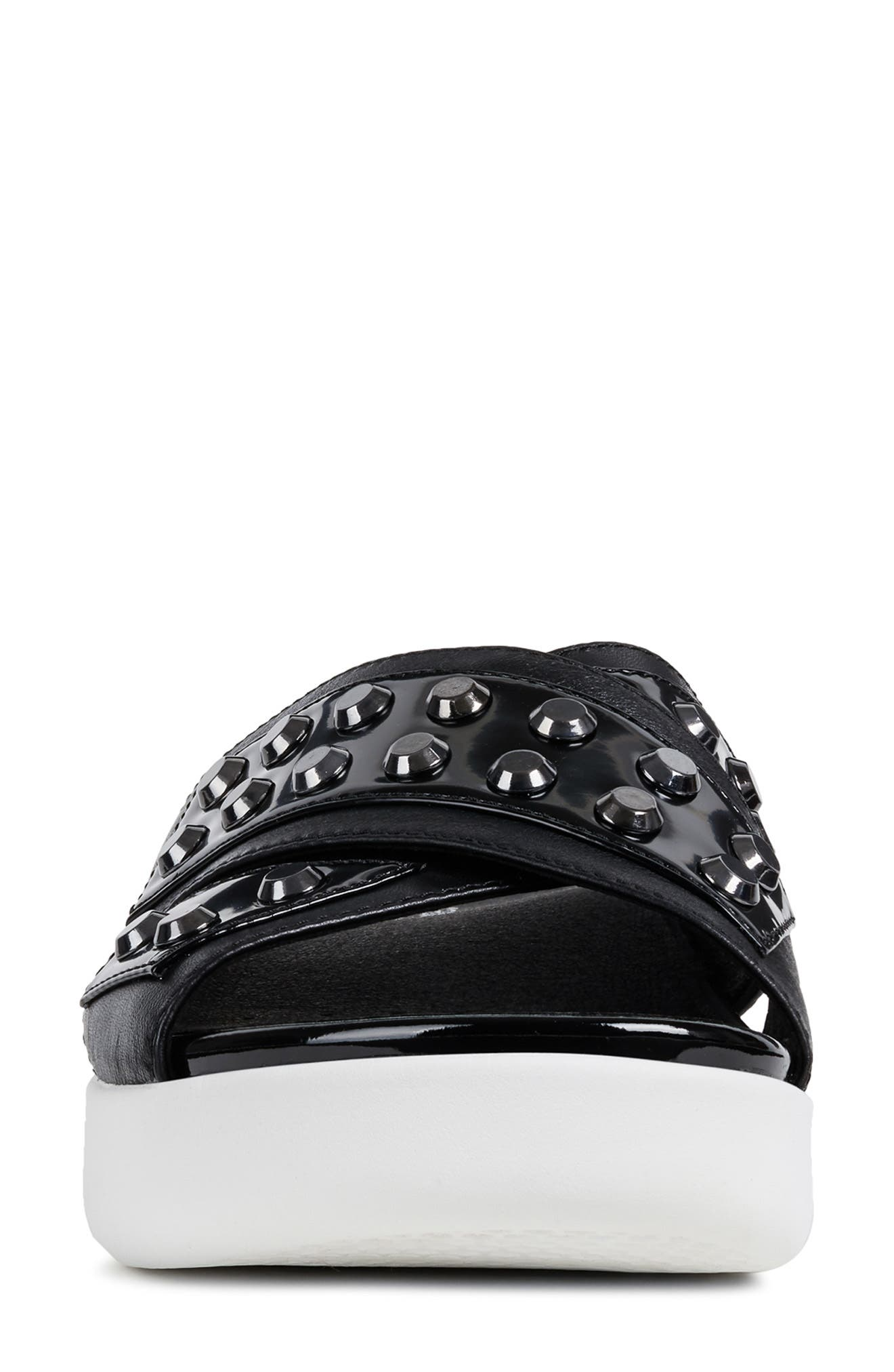 GEOX, Ottaya Studded Slide Sandal, Alternate thumbnail 4, color, BLACK LEATHER