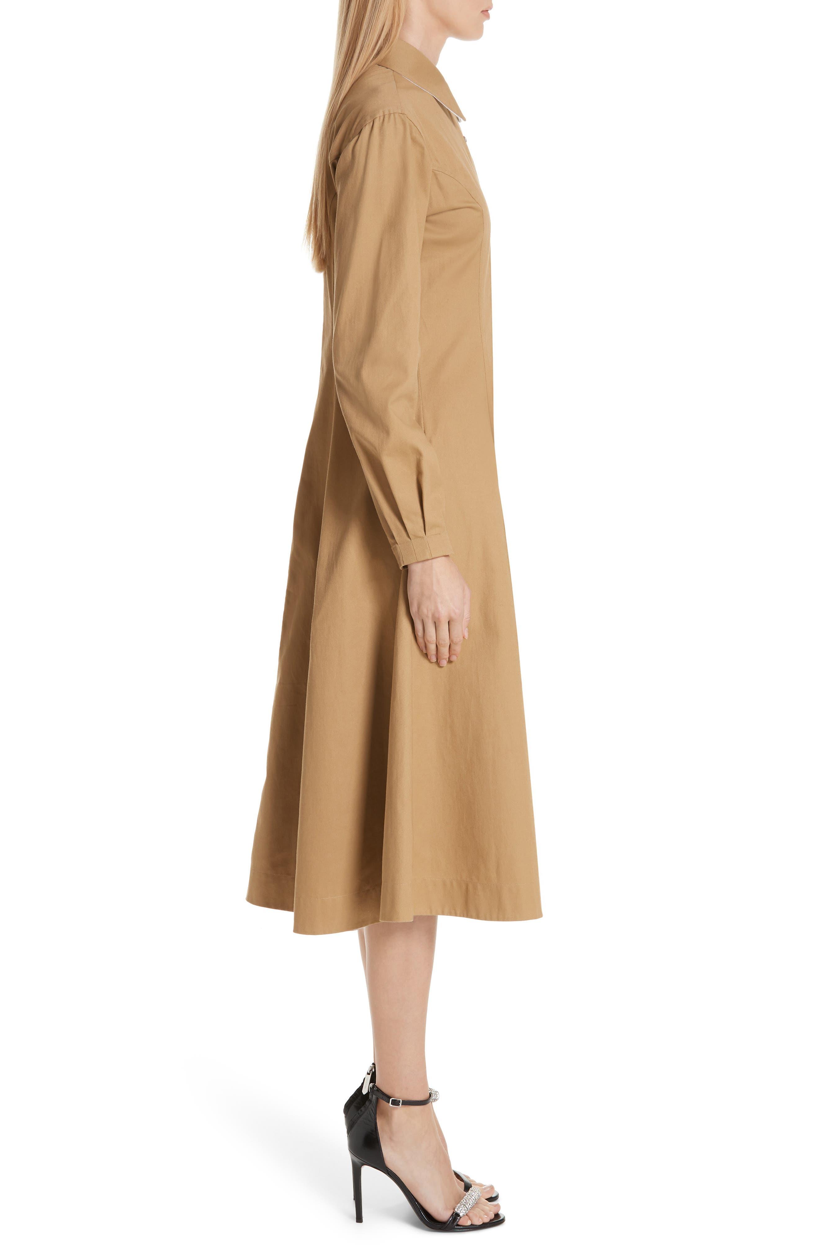 CALVIN KLEIN 205W39NYC, Western Twill A-Line Midi Dress, Alternate thumbnail 4, color, DUNE