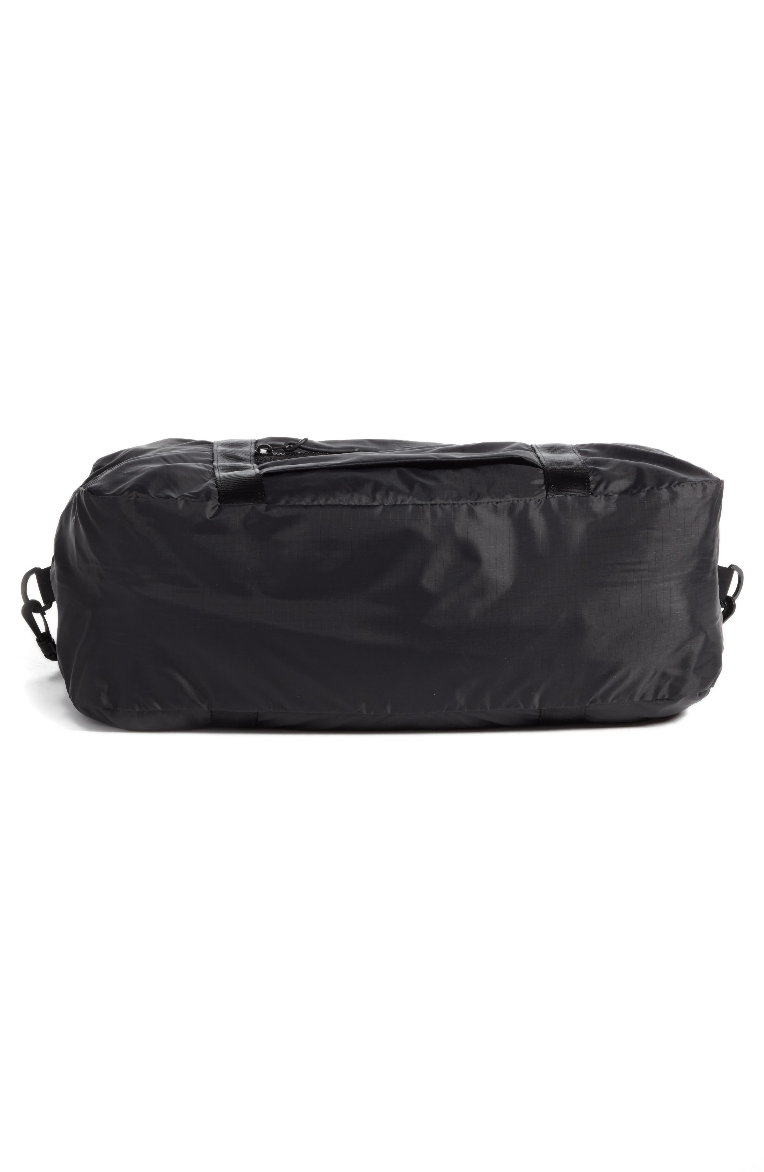 NORDSTROM, Packable Nylon Duffel Bag, Alternate thumbnail 7, color, BLACK