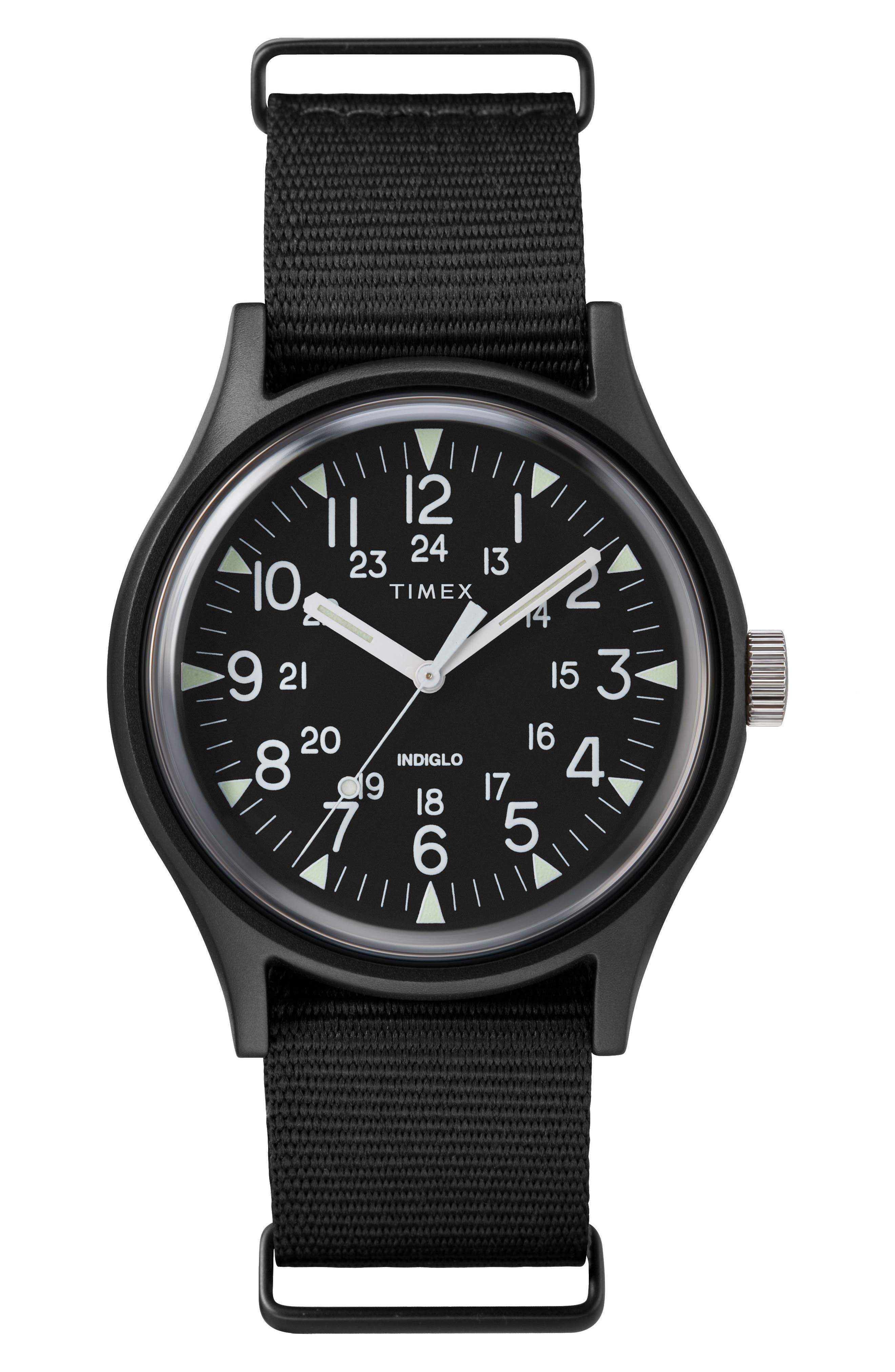 TIMEX<SUP>®</SUP>, Timex MK1 Nylon Strap Watch, 40mm, Main thumbnail 1, color, BLACK