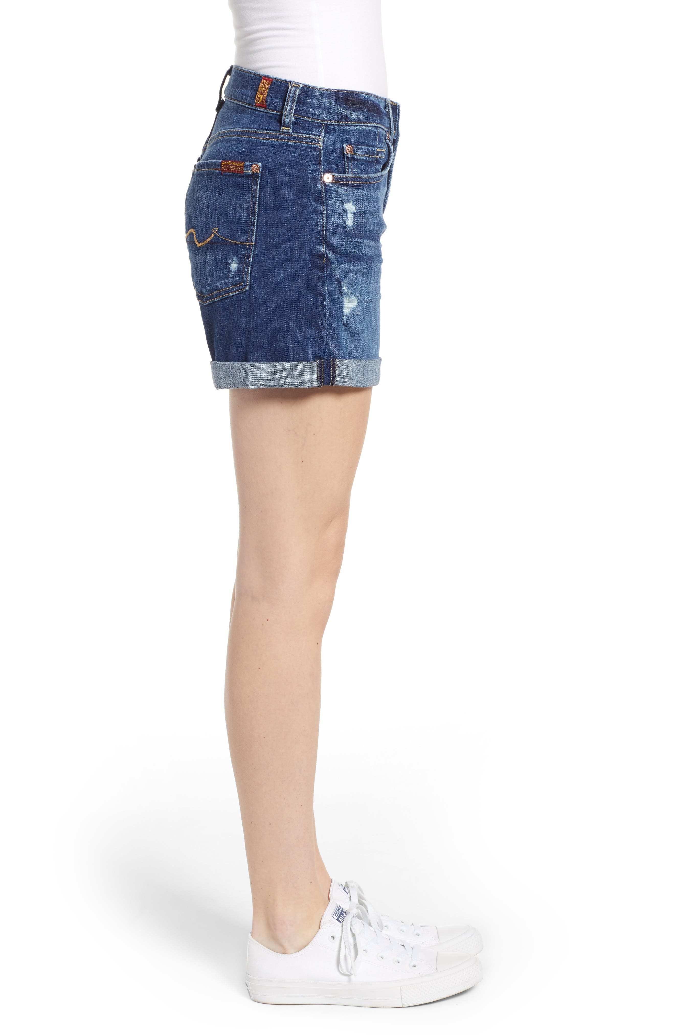 7 FOR ALL MANKIND<SUP>®</SUP>, Roll Cuff Denim Shorts, Alternate thumbnail 3, color, BROKEN TWILL VANITY W/ DESTROY
