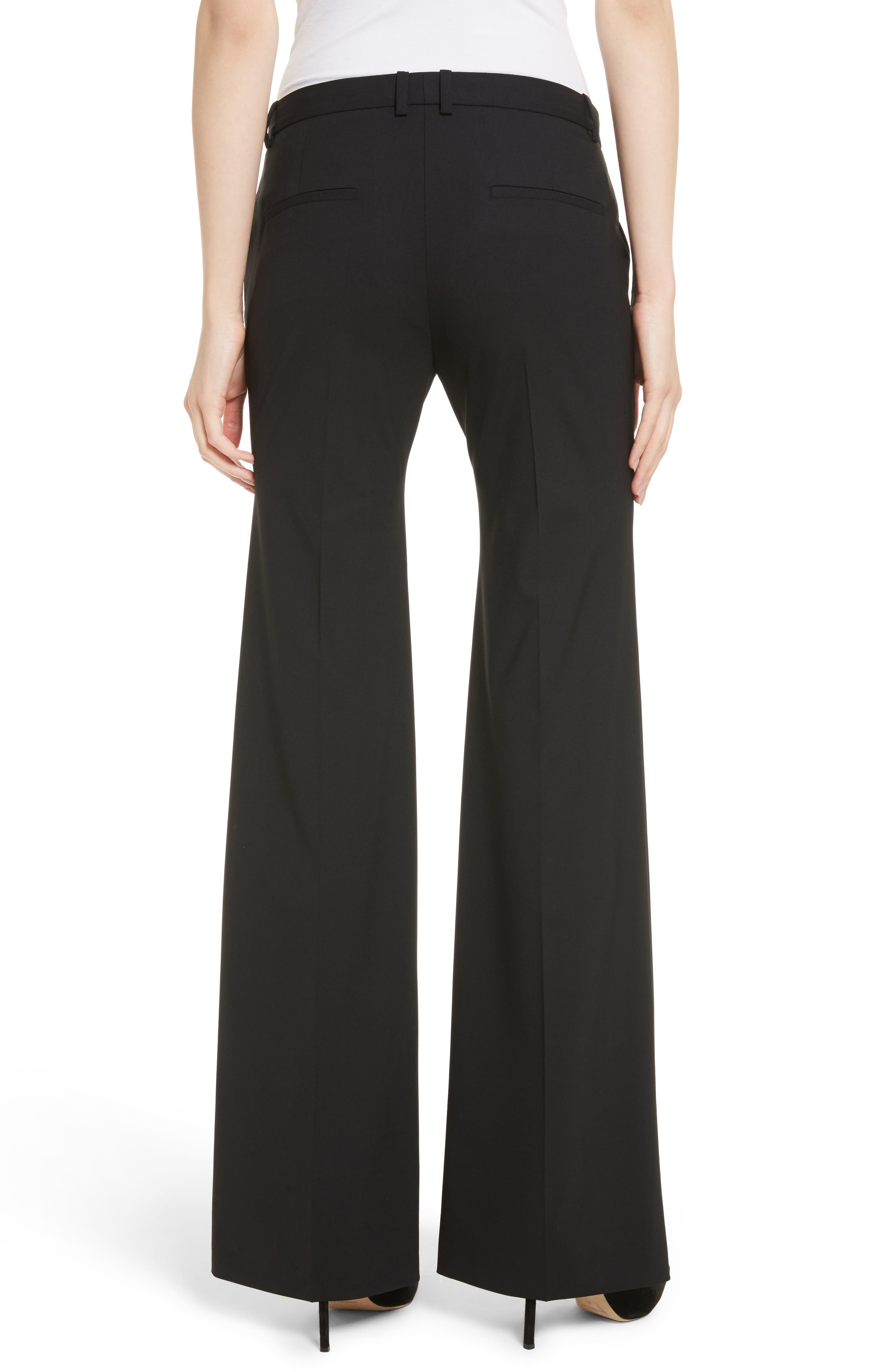 THEORY, Demetria 2 Flare Leg Good Wool Suit Pants, Alternate thumbnail 2, color, BLACK