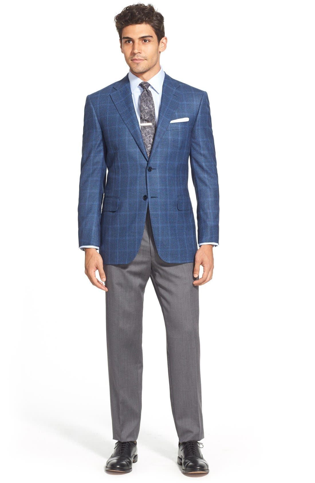 CANALI, Flat Front Wool Trousers, Alternate thumbnail 5, color, GREY