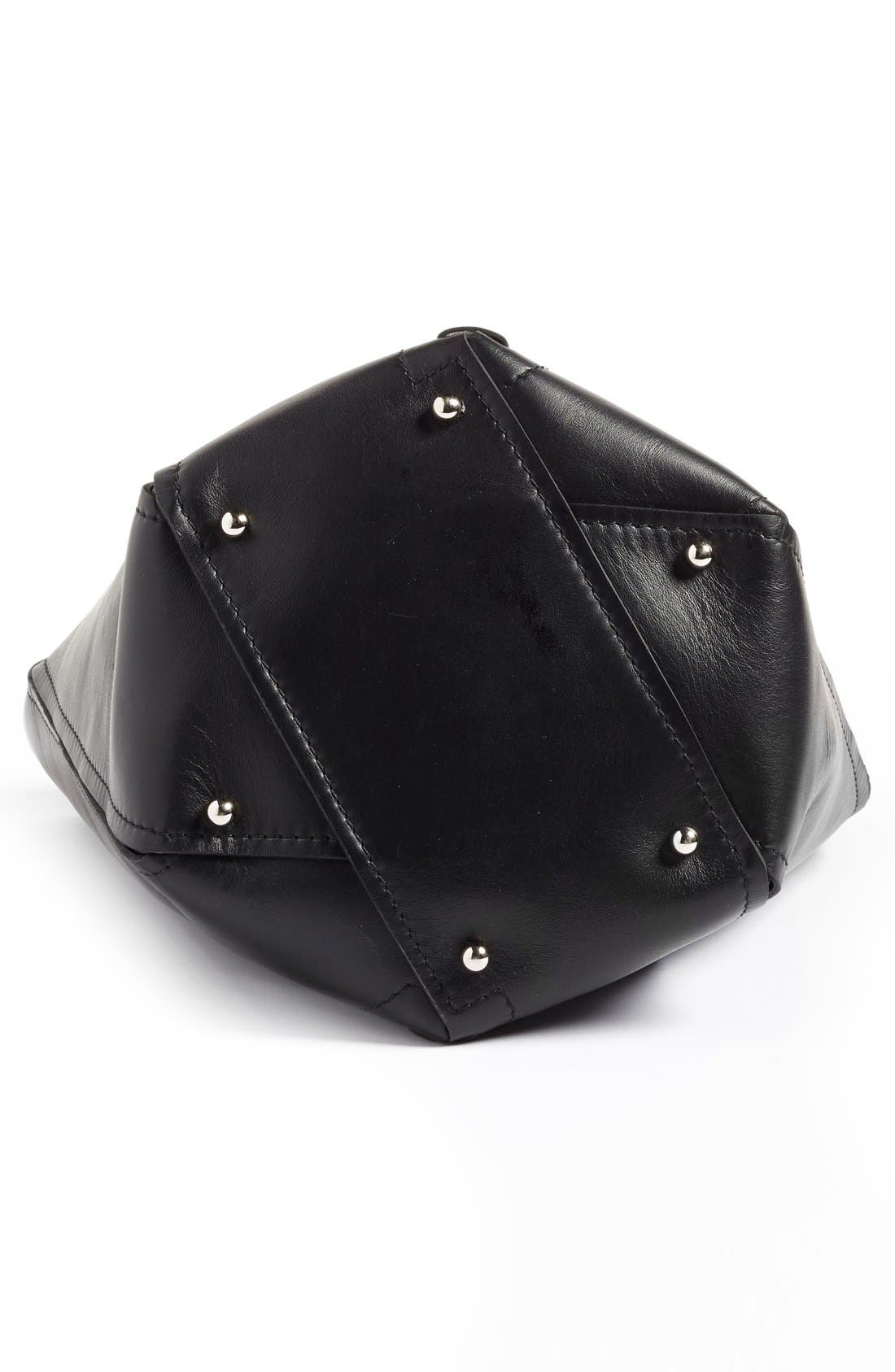 PROENZA SCHOULER, 'Medium Hex' Whipstitch Leather Bucket Bag, Alternate thumbnail 6, color, BLACK