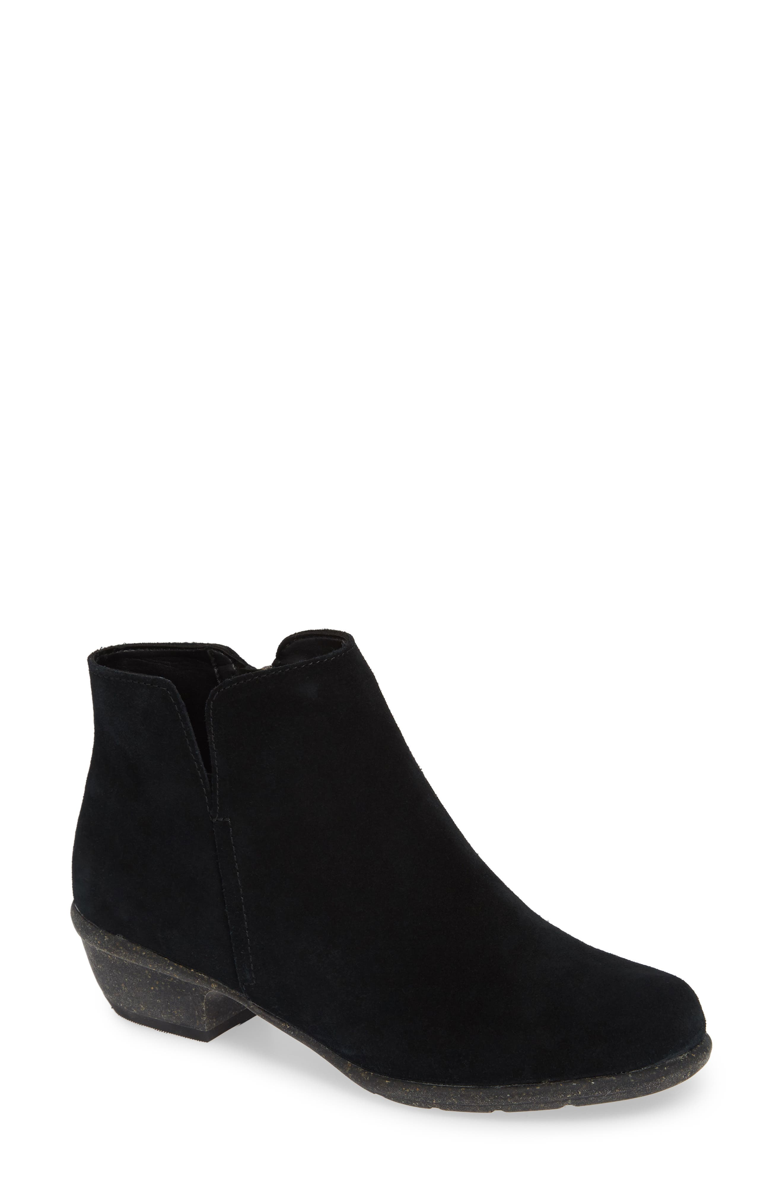 CLARKS<SUP>®</SUP>, Wilrose Frost Bootie, Main thumbnail 1, color, BLACK SUEDE