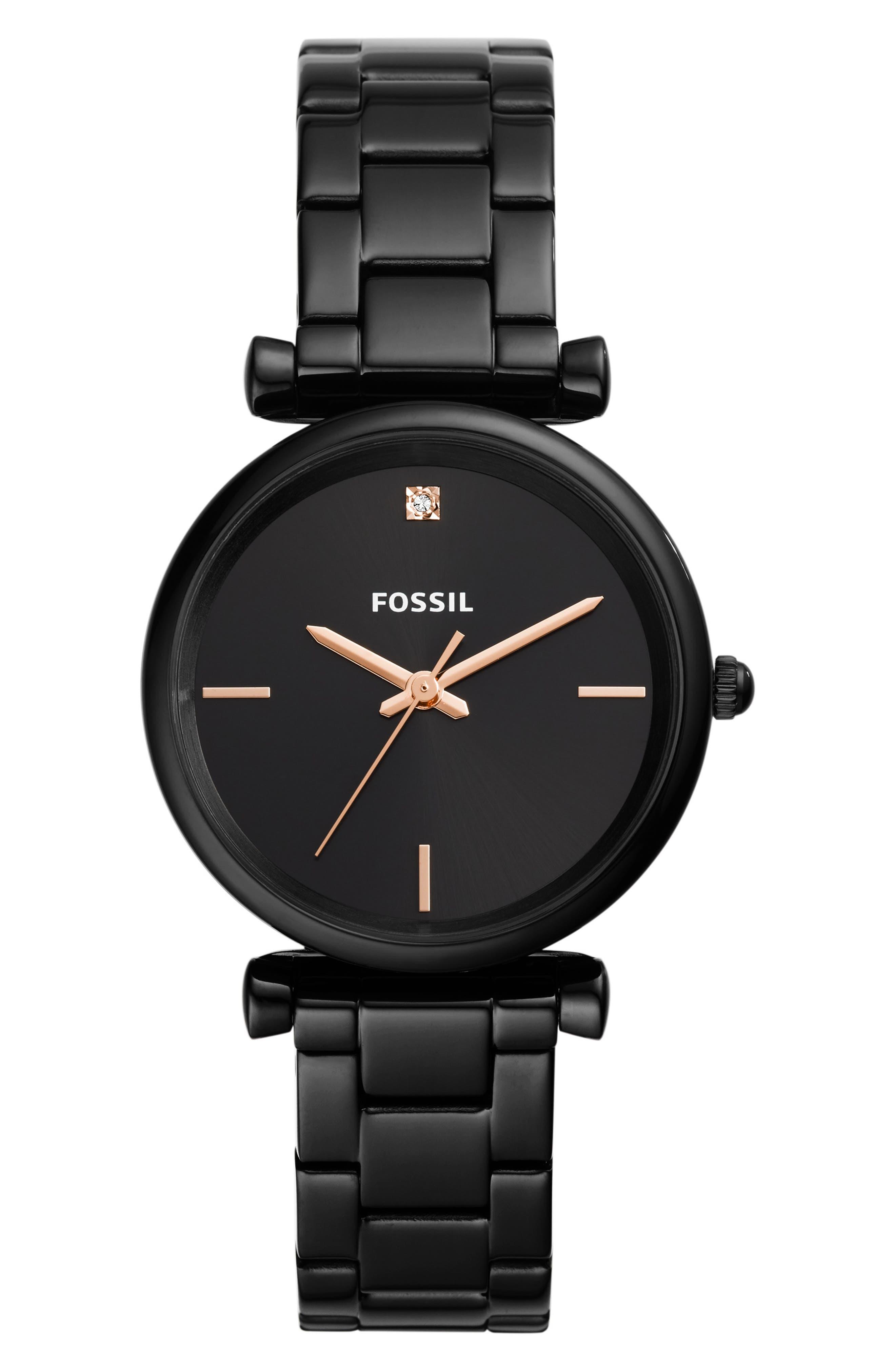 FOSSIL, Carlie Bracelet Watch, 35mm, Main thumbnail 1, color, BLACK